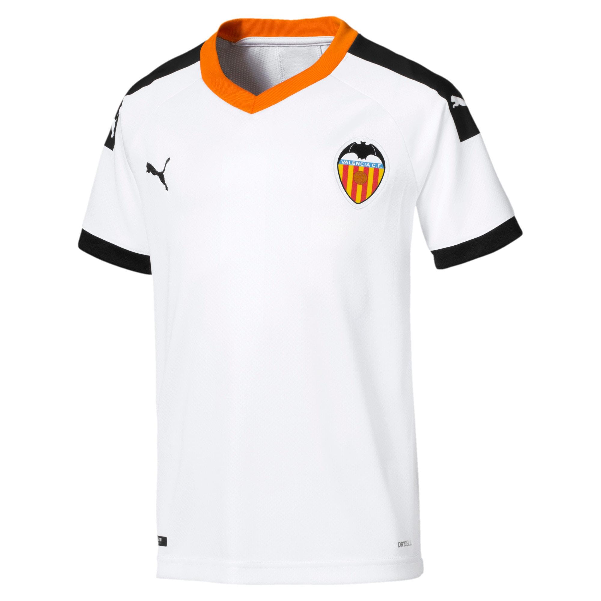 Thumbnail 1 of Valencia CF Home Replica Kids' Jersey, White- Black-Vibrant Orange, medium