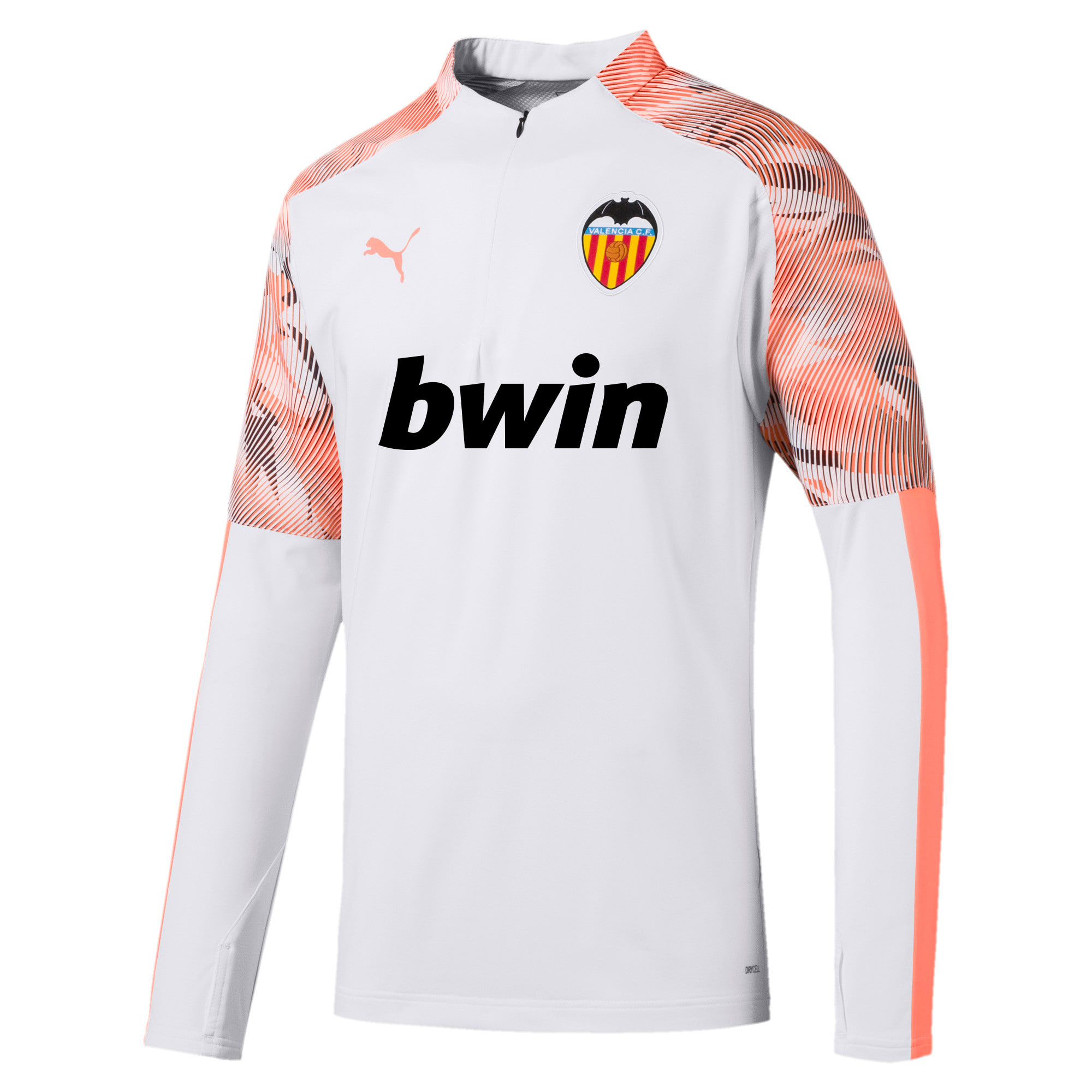 Thumbnail 1 of Valencia CF Quarter Zip Men's Training Top, Puma White-Fizzy Orange, medium