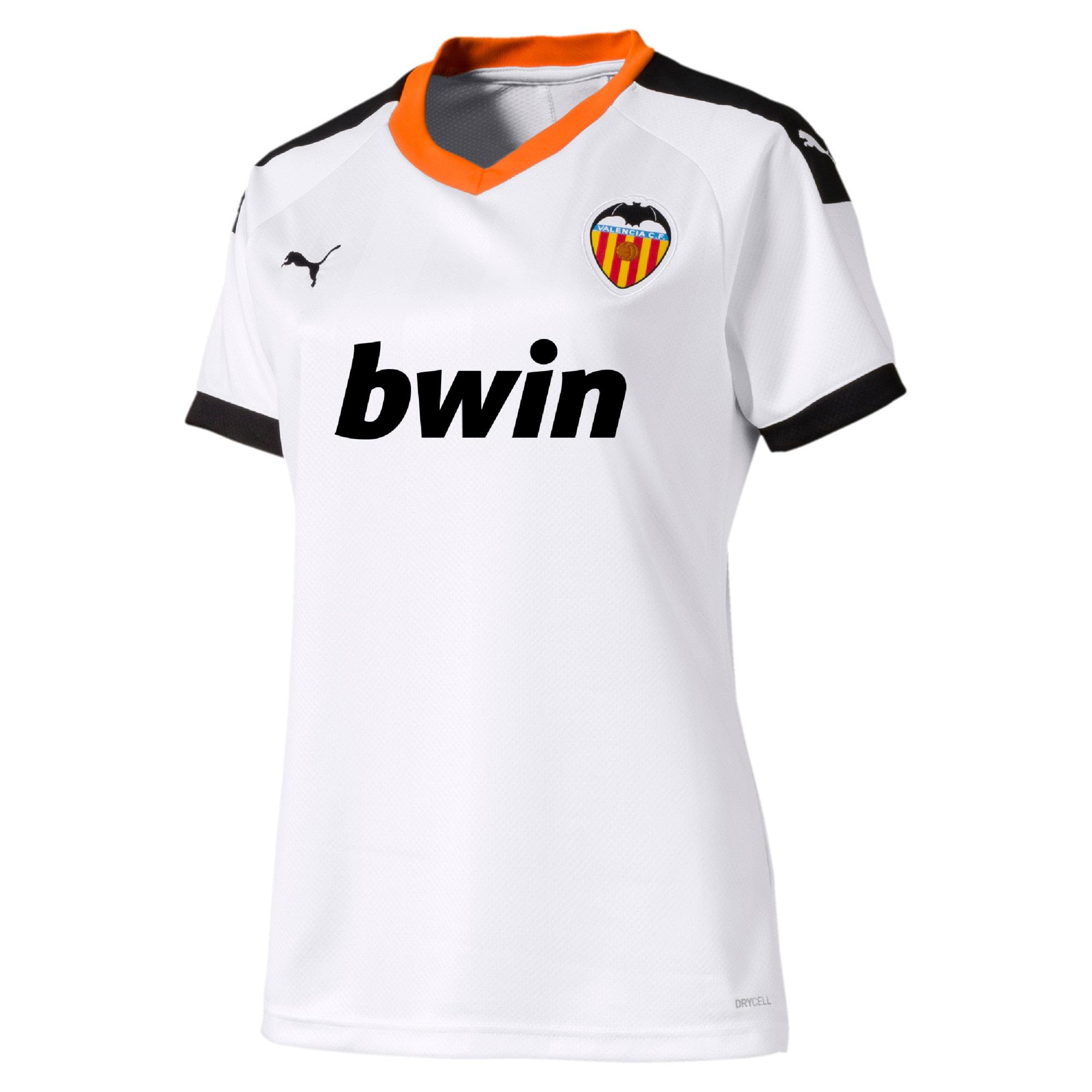 Imagen en miniatura 1 de Camiseta de la primera equipación de réplica de mujer Valencia CF, White- Black-Vibrant Orange, mediana