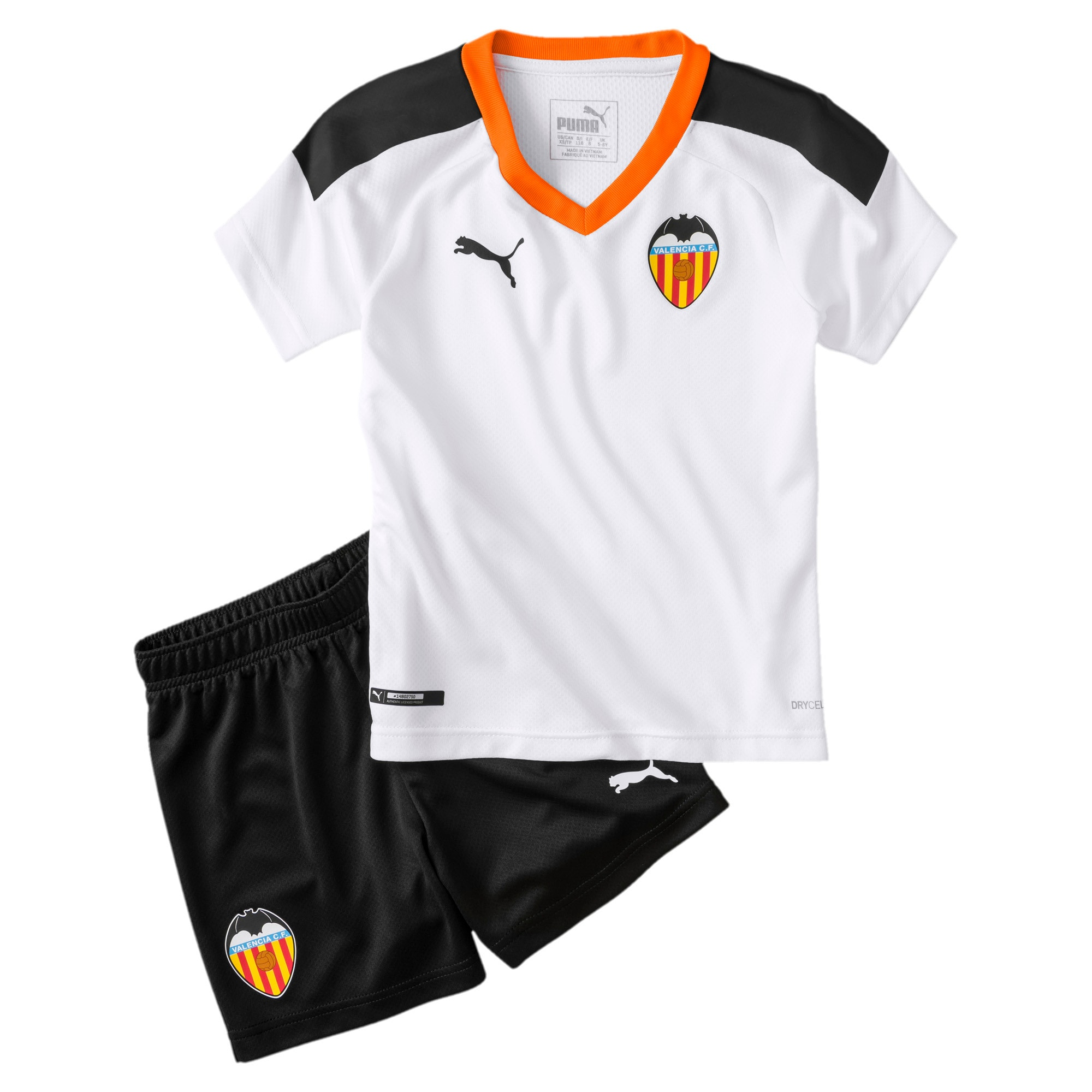 Imagen en miniatura 1 de Minikit de la primera equipación de niño Valencia CF, White- Black-Vibrant Orange, mediana