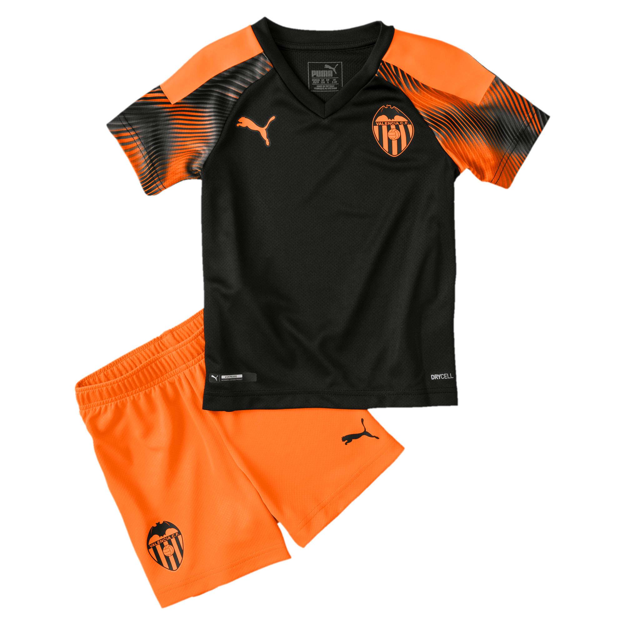 Thumbnail 1 of Valencia CF Away Kids' Mini Kit, Puma Black-Vibrant Orange, medium
