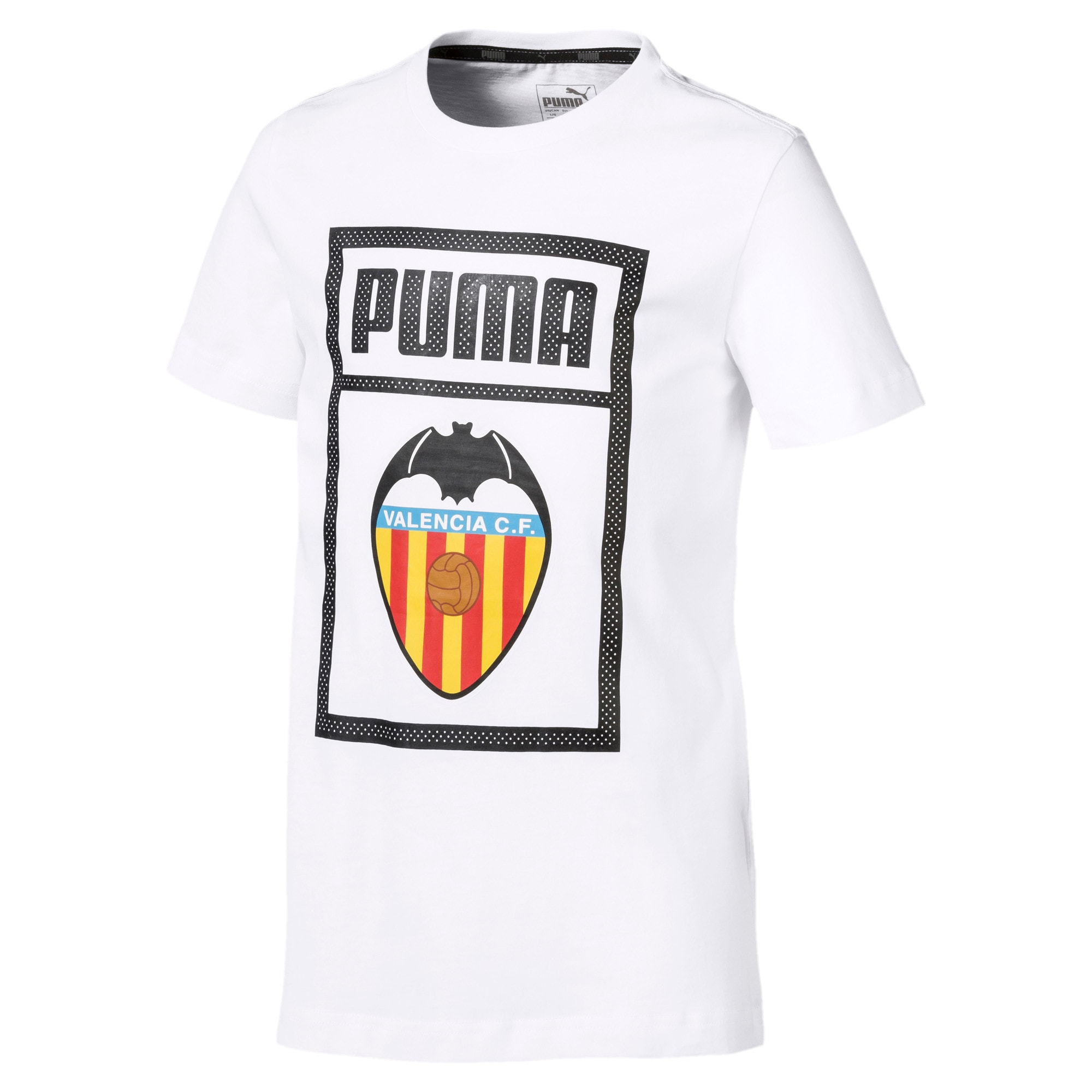 Thumbnail 1 of Valencia CF Shoe Tag Boys' Tee, Puma White, medium