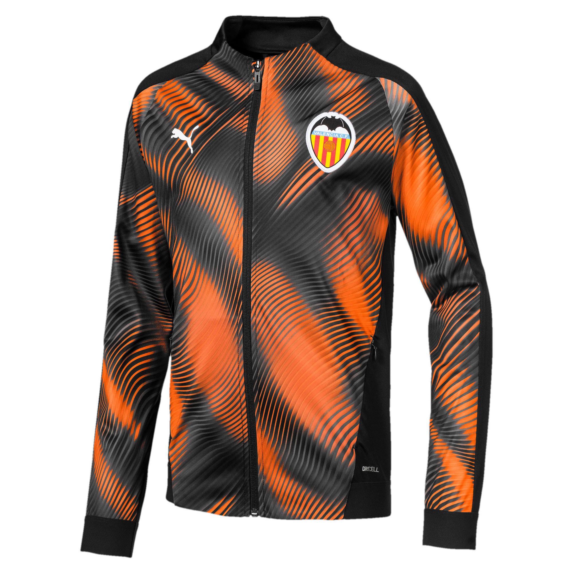 Thumbnail 1 of Valencia CF Kinder Stadium Jacke, Puma Black-Vibrant Orange, medium