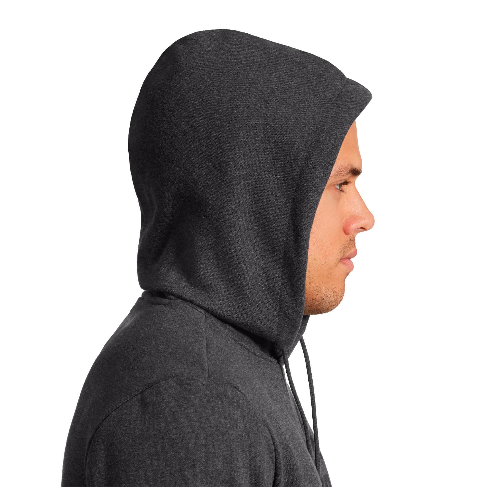 Thumbnail 3 of Essentials Men's Fleece Hoodie, Dark Gray Heather, medium