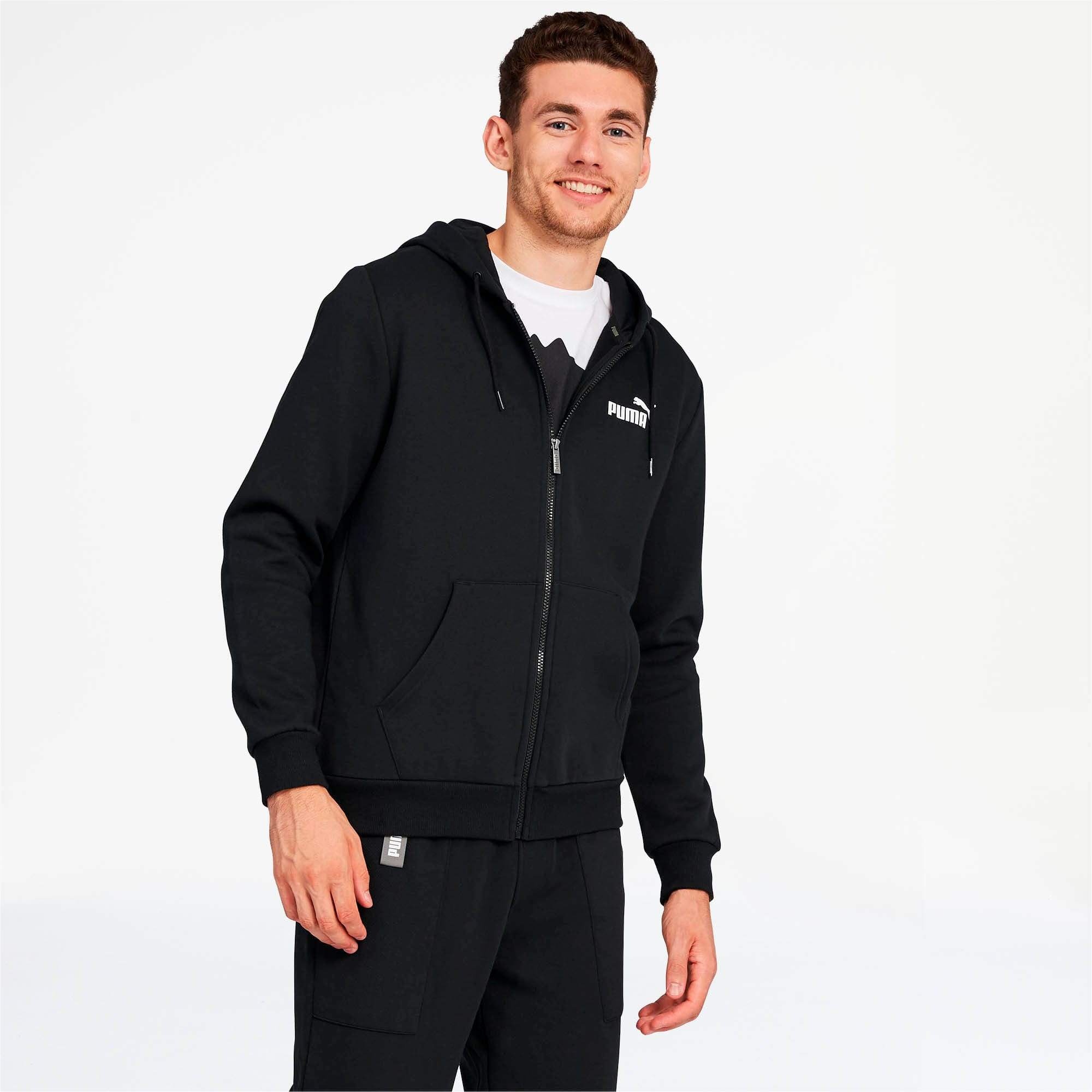Thumbnail 1 of Essentials Men's Hooded Fleece Jacket, Puma Black, medium