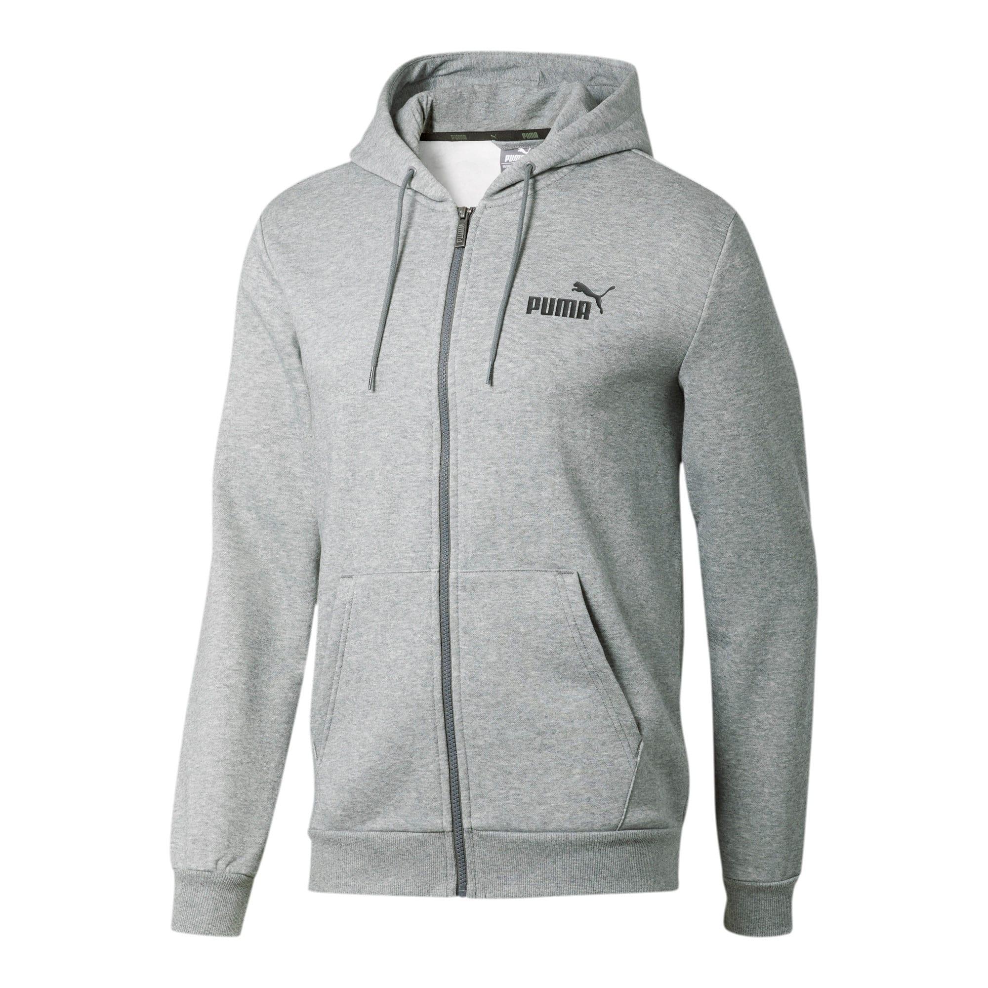 Thumbnail 2 of Essentials Men's Hooded Fleece Jacket, Medium Gray Heather, medium
