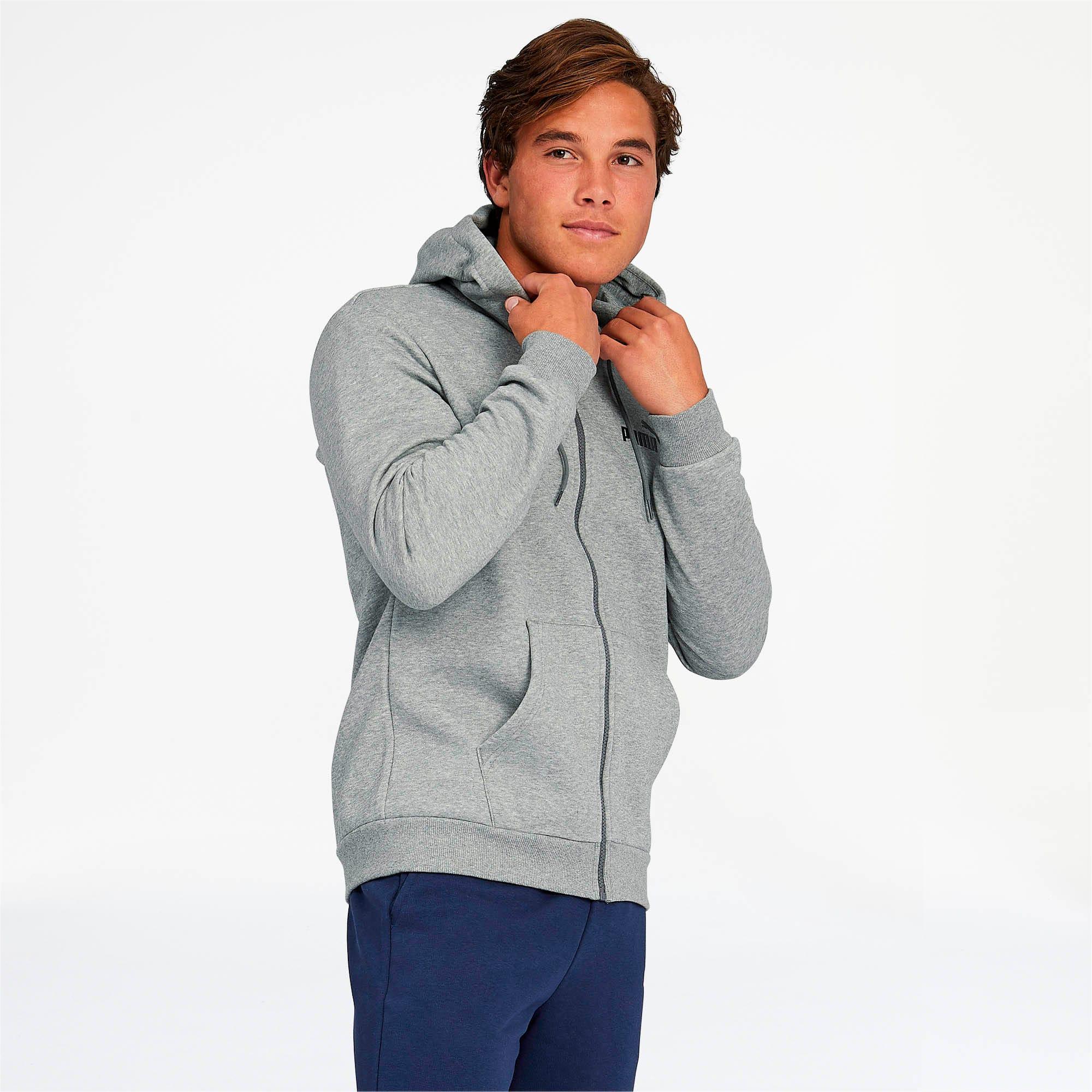 Thumbnail 1 of Essentials Men's Hooded Fleece Jacket, Medium Gray Heather, medium