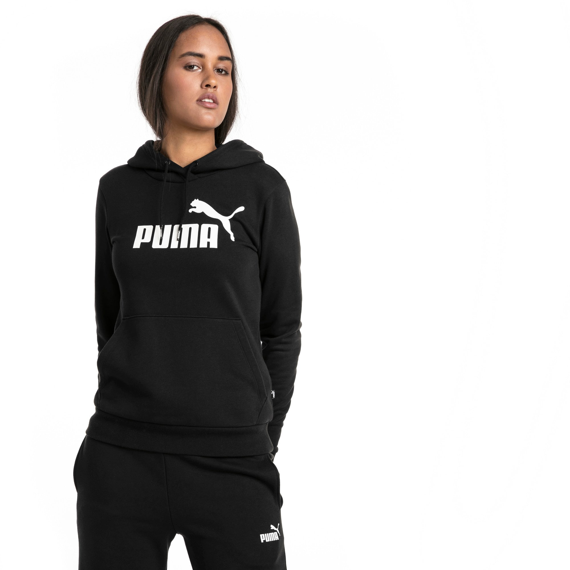 Thumbnail 1 of Essentials Fleece Women's Hoodie, Cotton Black, medium