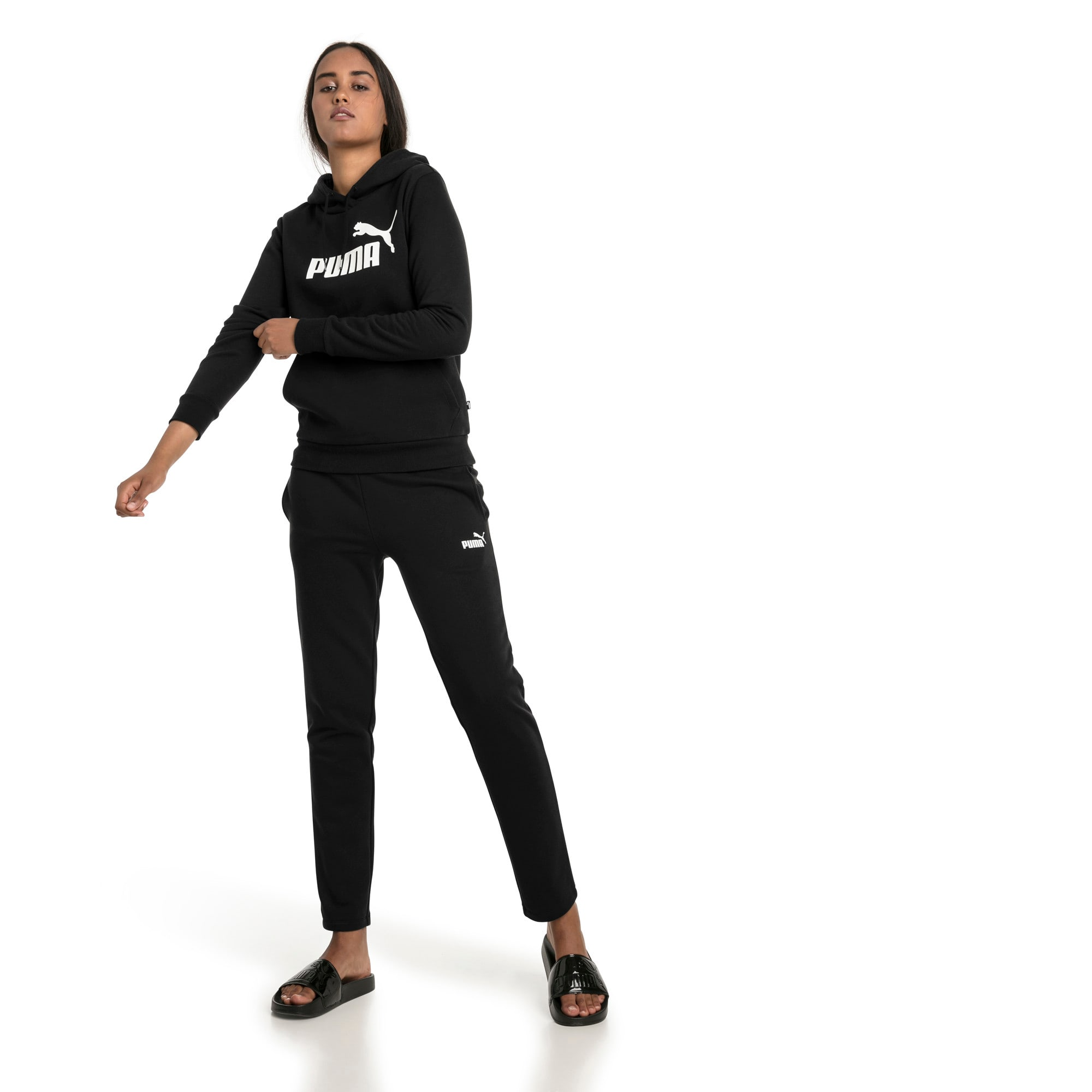 Thumbnail 3 of Essentials Fleece Women's Hoodie, Cotton Black, medium