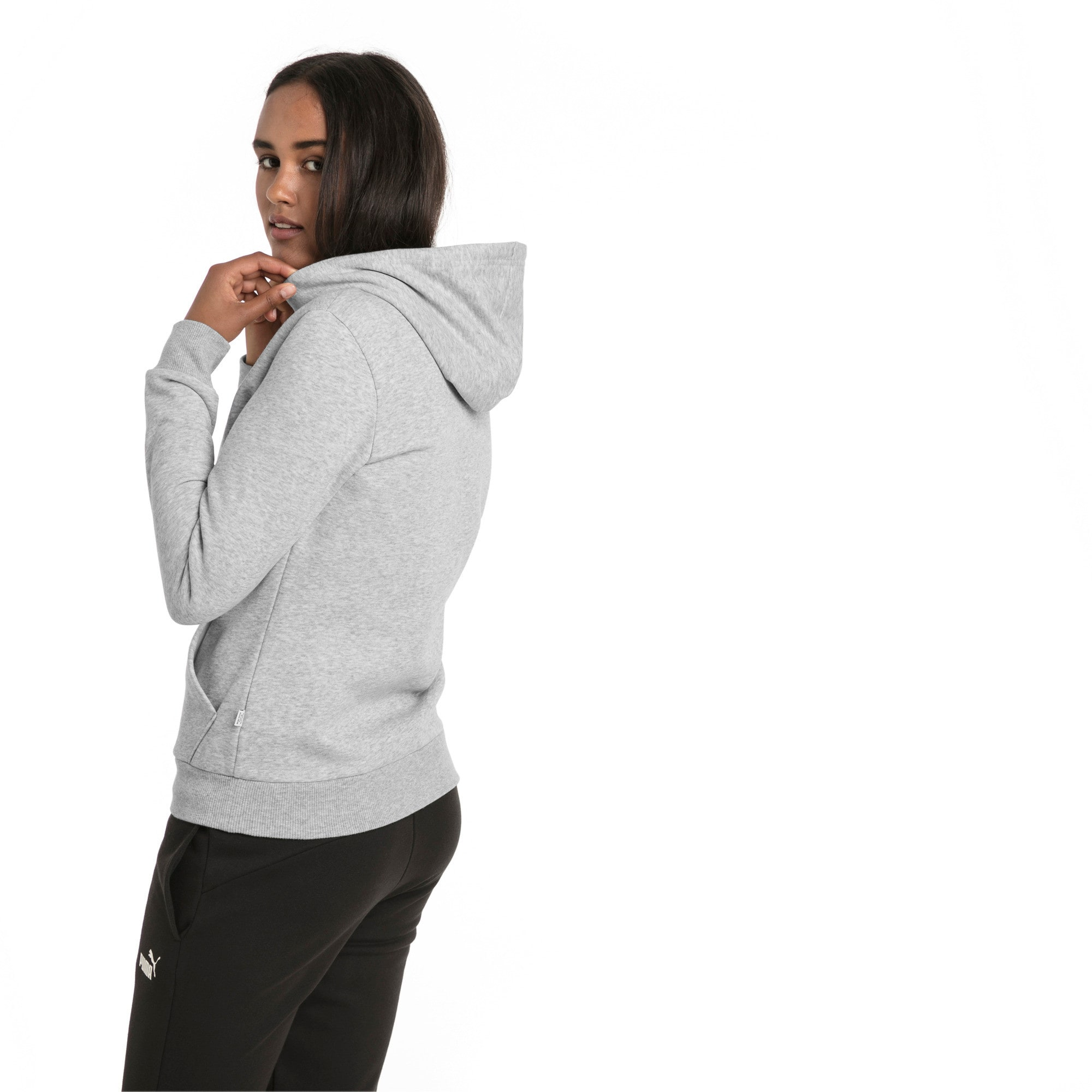 Thumbnail 2 of Essentials Fleece Women's Hoodie, Light Gray Heather, medium