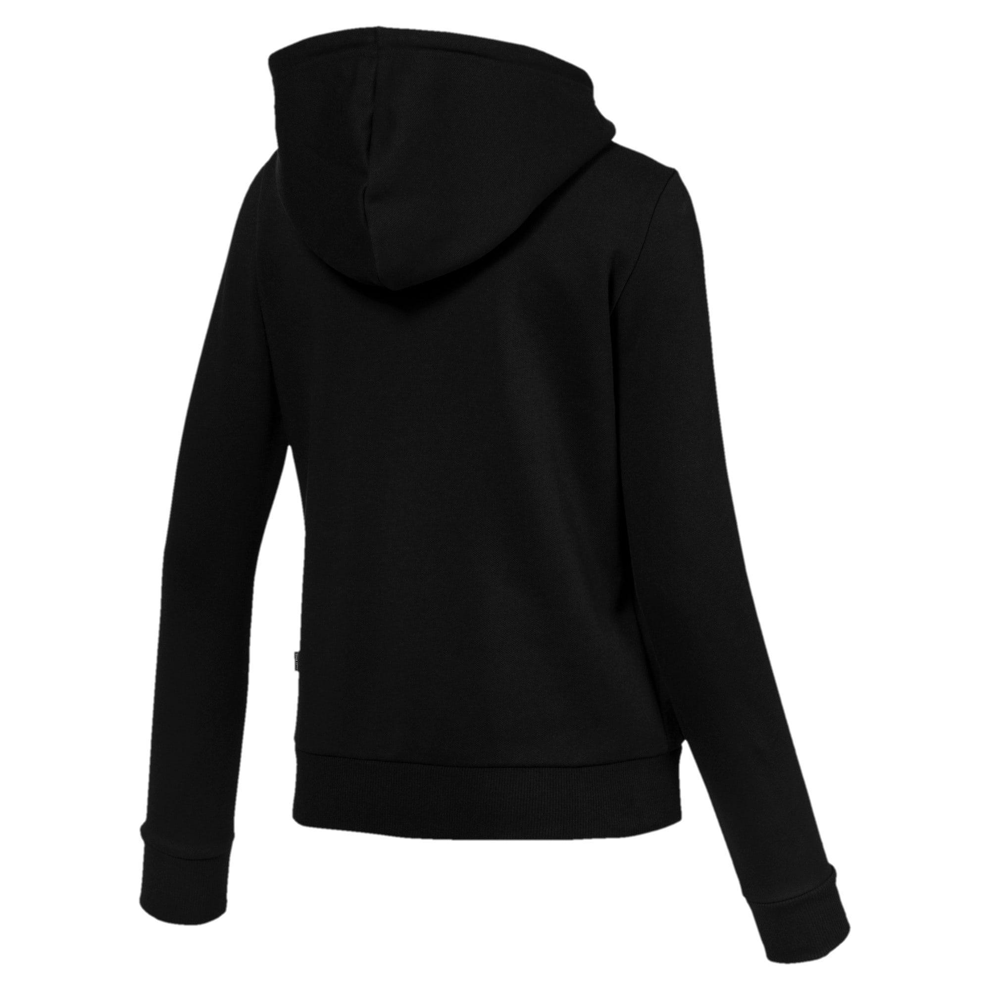 Thumbnail 2 of Essentials Damen Fleece Sweatjacke mit Kapuze, Cotton Black, medium