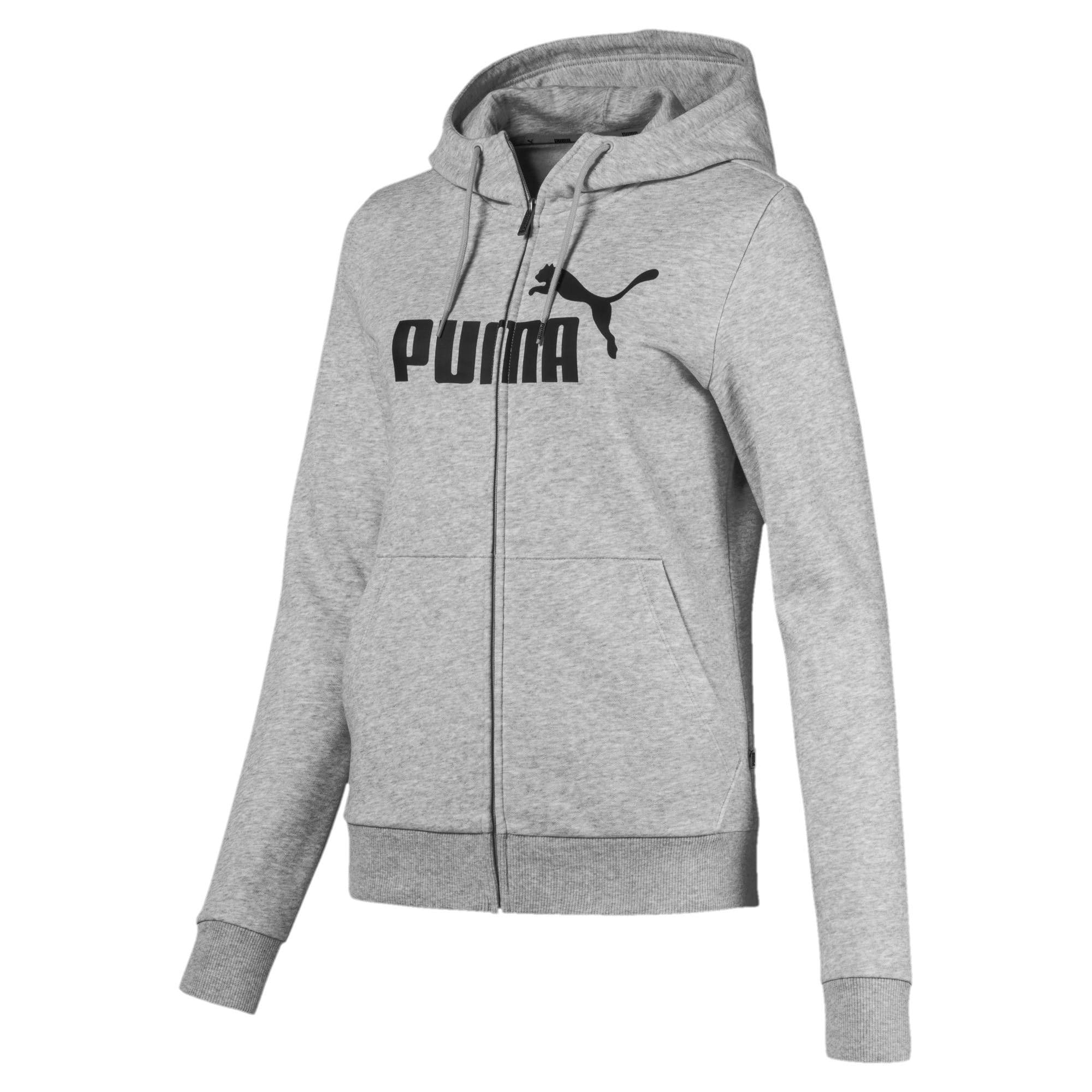 Thumbnail 1 of Essentials Fleece Hooded Full Zip Women's Sweat Jacket, Light Gray Heather, medium
