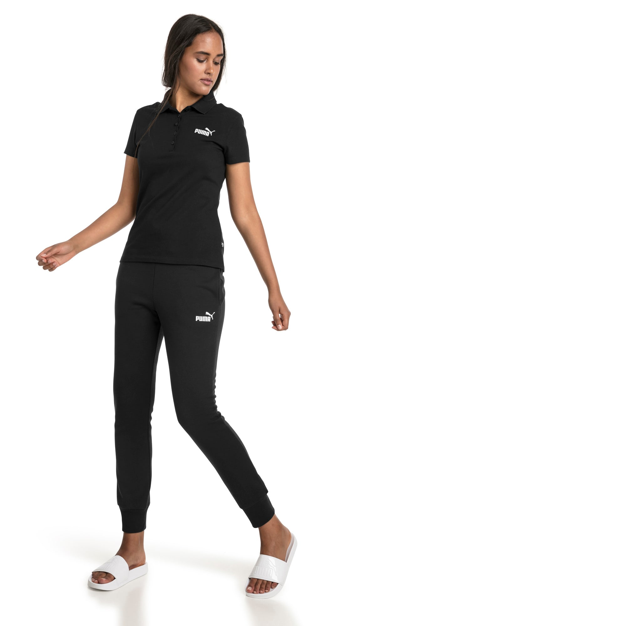 Thumbnail 3 of Essentials Damen Fleece Jogginghose, Cotton Black, medium