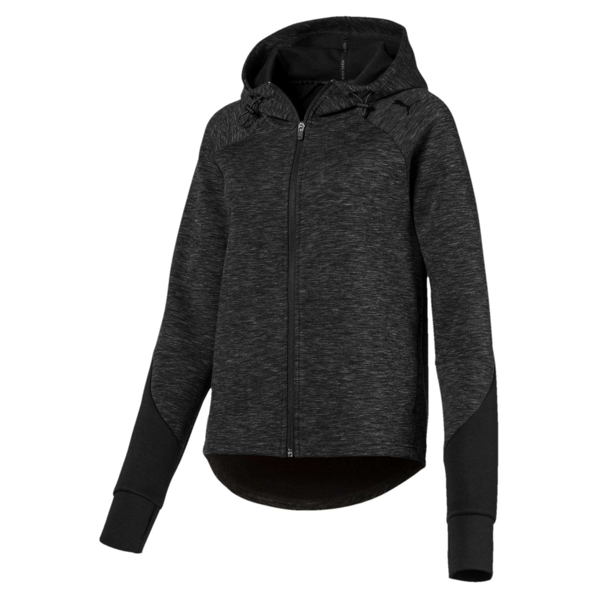 Thumbnail 1 of Evostripe Full Zip Women's Hoodie, Cotton Black-heather, medium