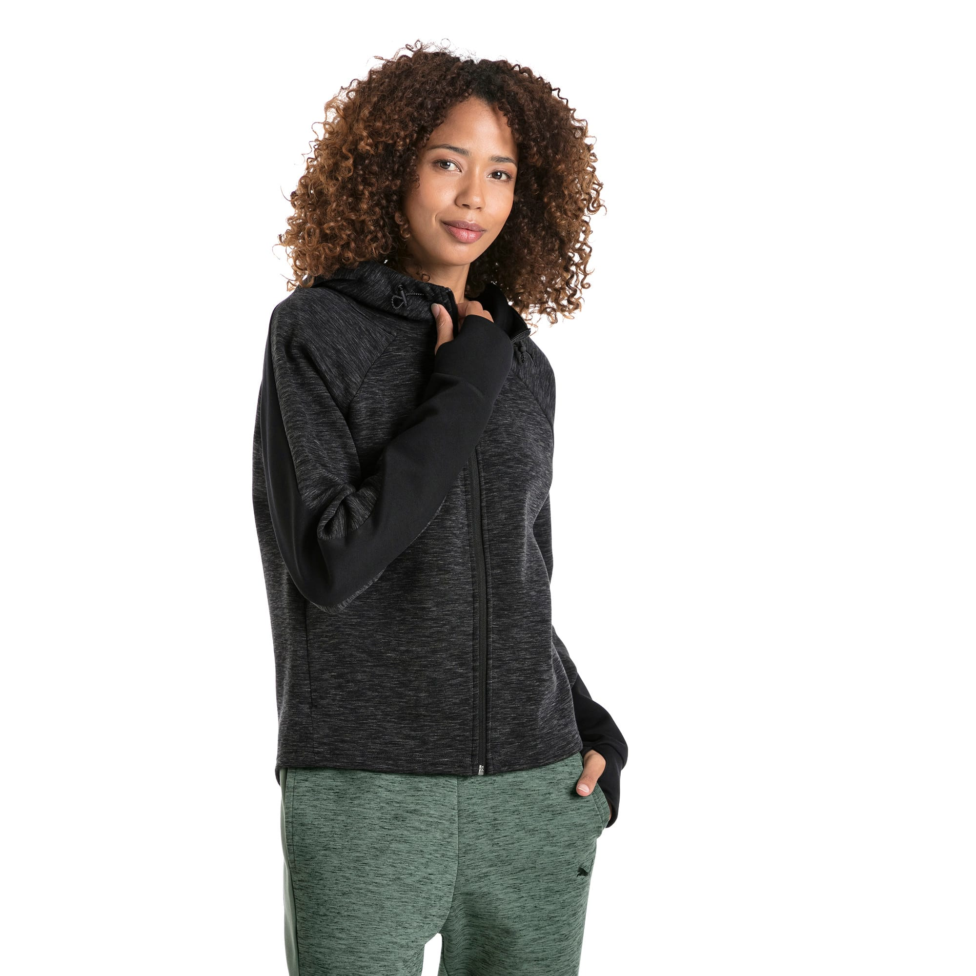 Thumbnail 2 of Evostripe Full Zip Women's Hoodie, Cotton Black-heather, medium