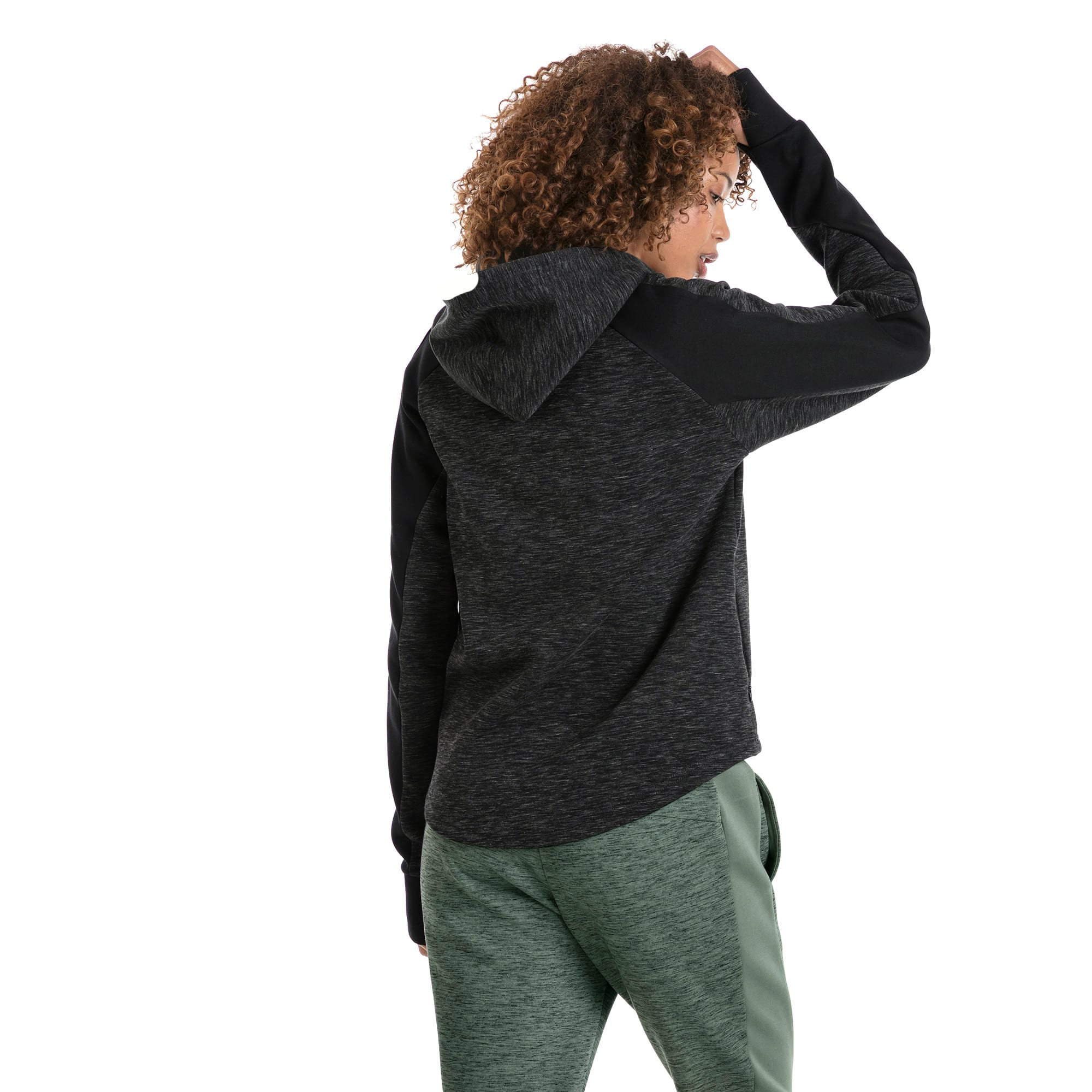 Thumbnail 3 of Evostripe Full Zip Women's Hoodie, Cotton Black-heather, medium