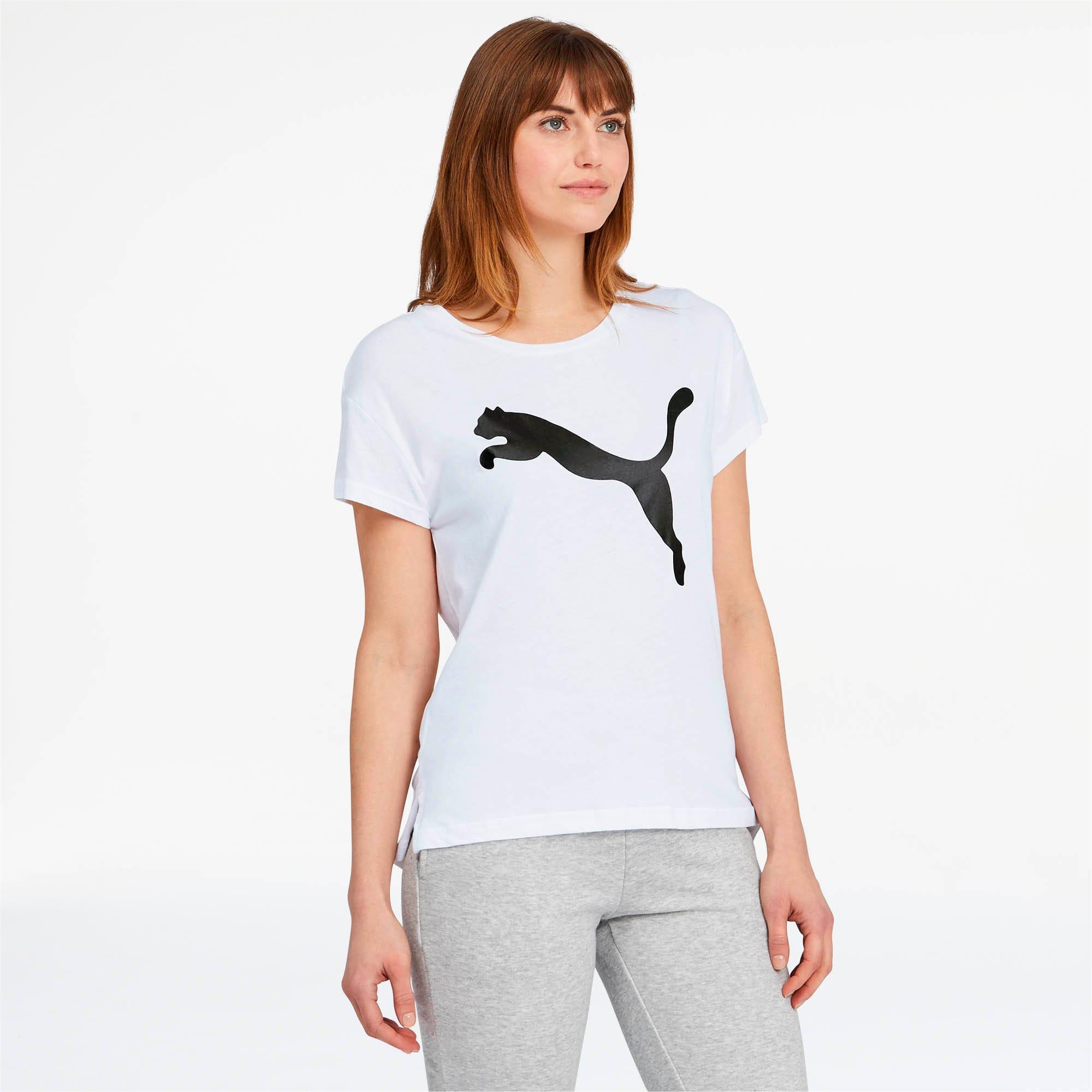 Thumbnail 1 of Active Women's Logo Tee, Puma White-Cotton Black, medium