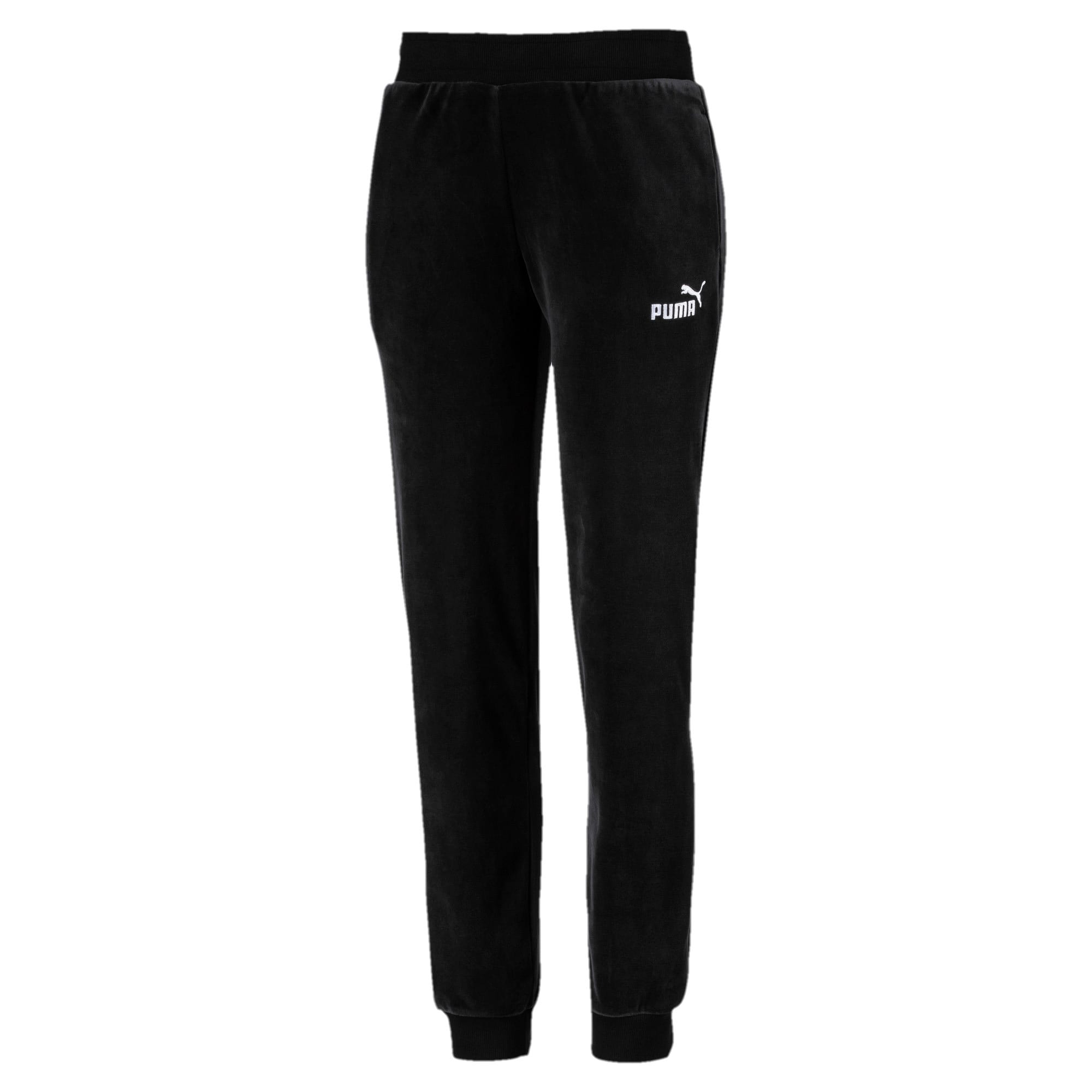 Thumbnail 1 of Essential Damen Velours Sweatpants, Cotton Black, medium