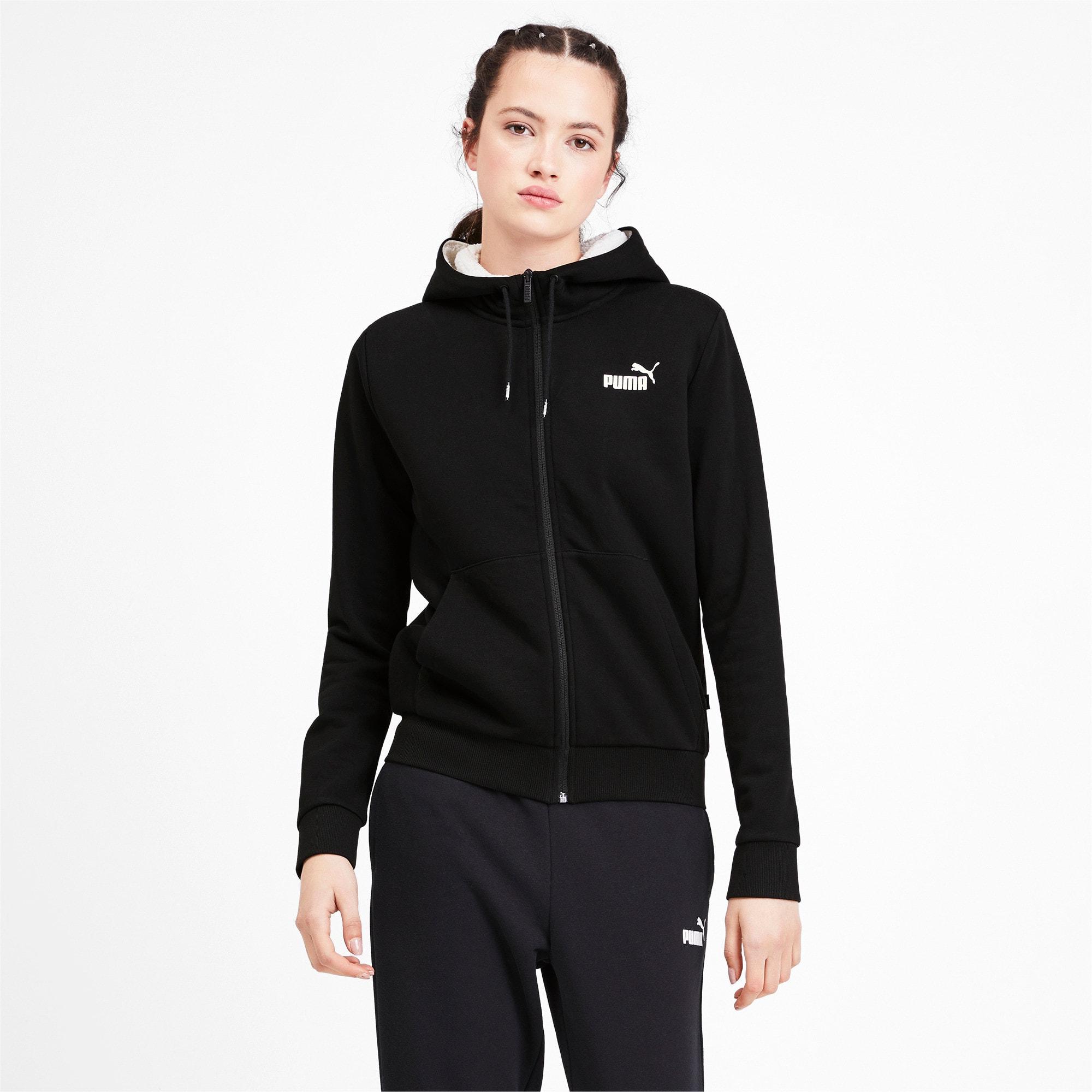 Miniatura 1 de Chaqueta con capucha Essentials + Sherpa para mujer, Cotton Black, mediano