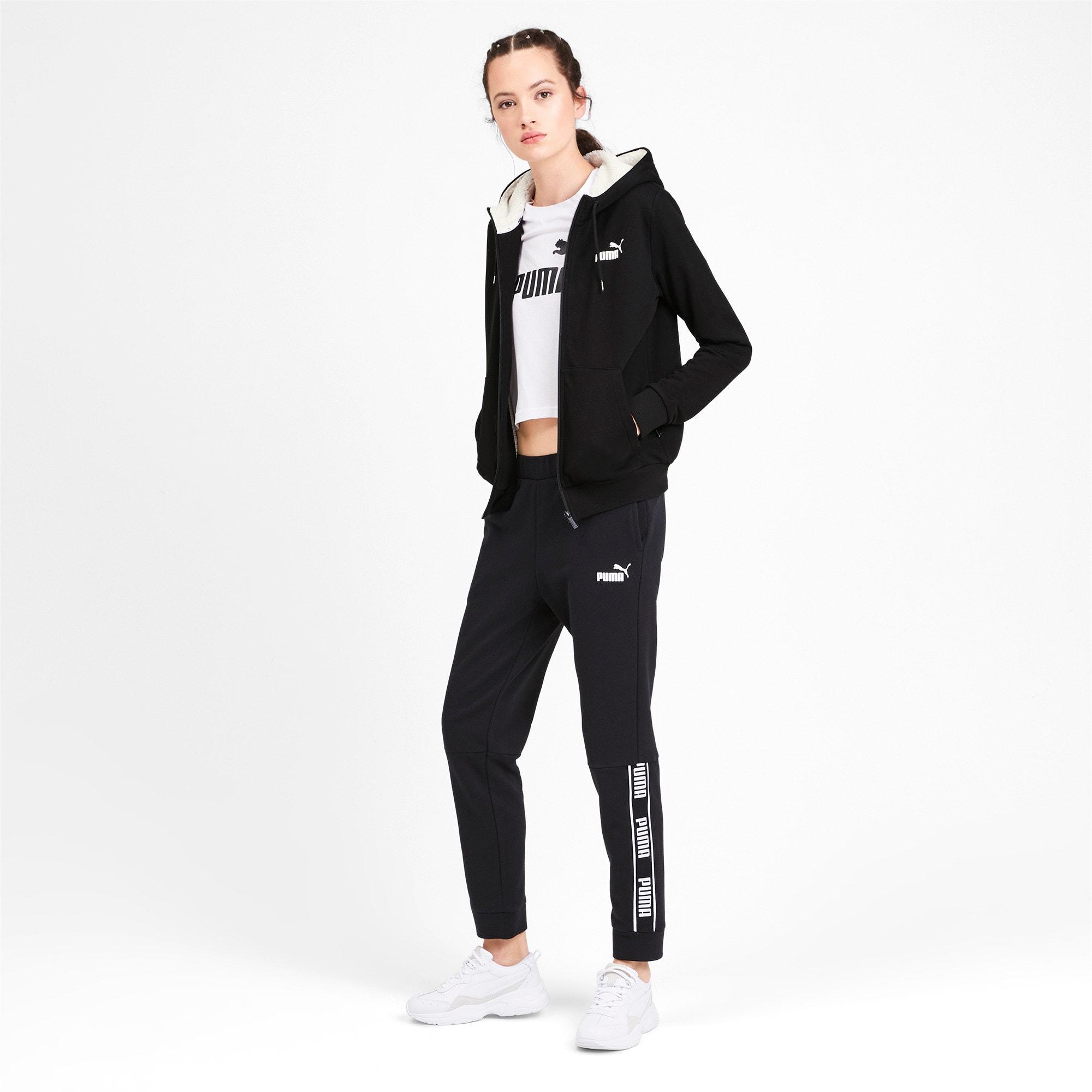 Miniatura 3 de Chaqueta con capucha Essentials + Sherpa para mujer, Cotton Black, mediano