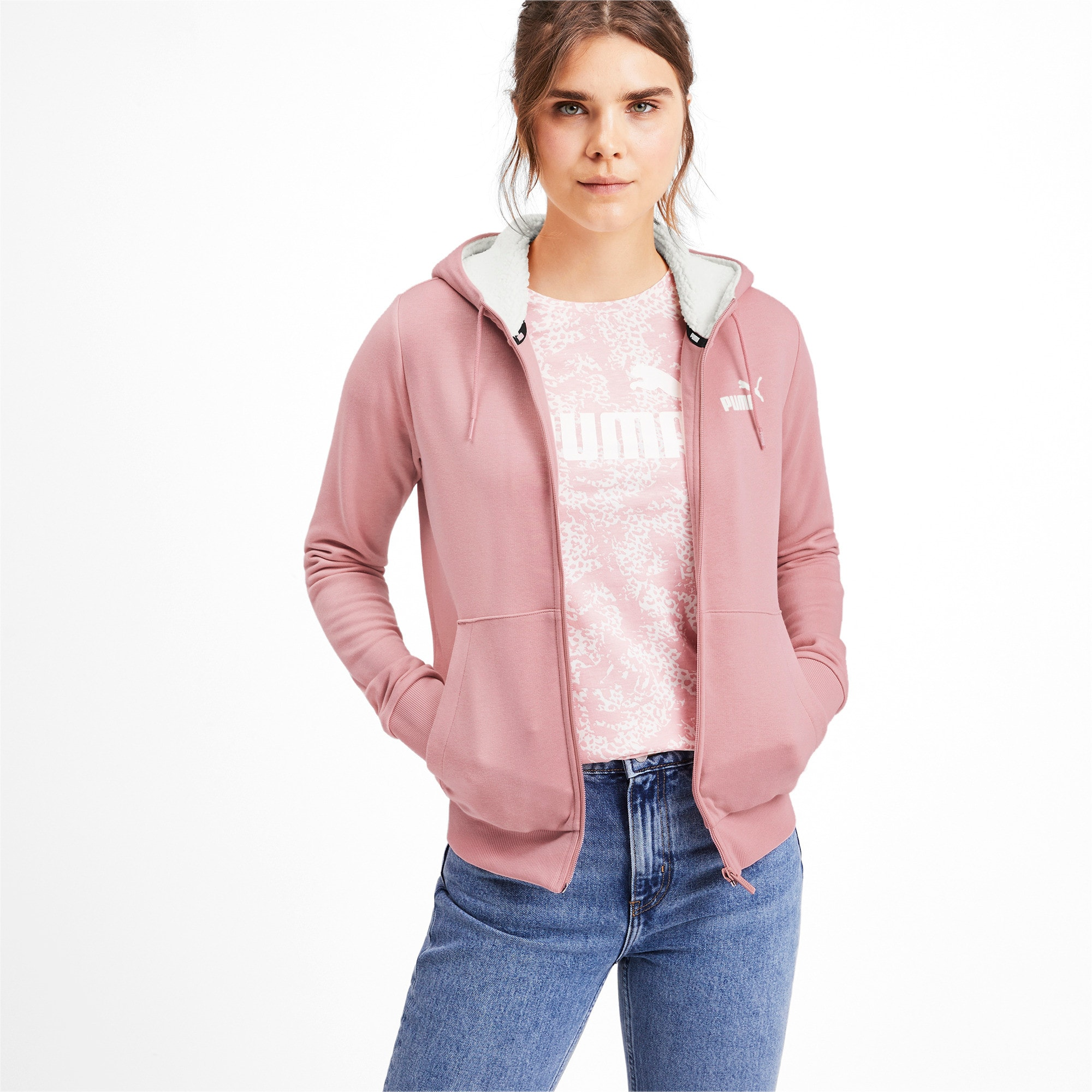 Thumbnail 1 of Essentials Sherpa Damen Kapuzenjacke, Bridal Rose, medium