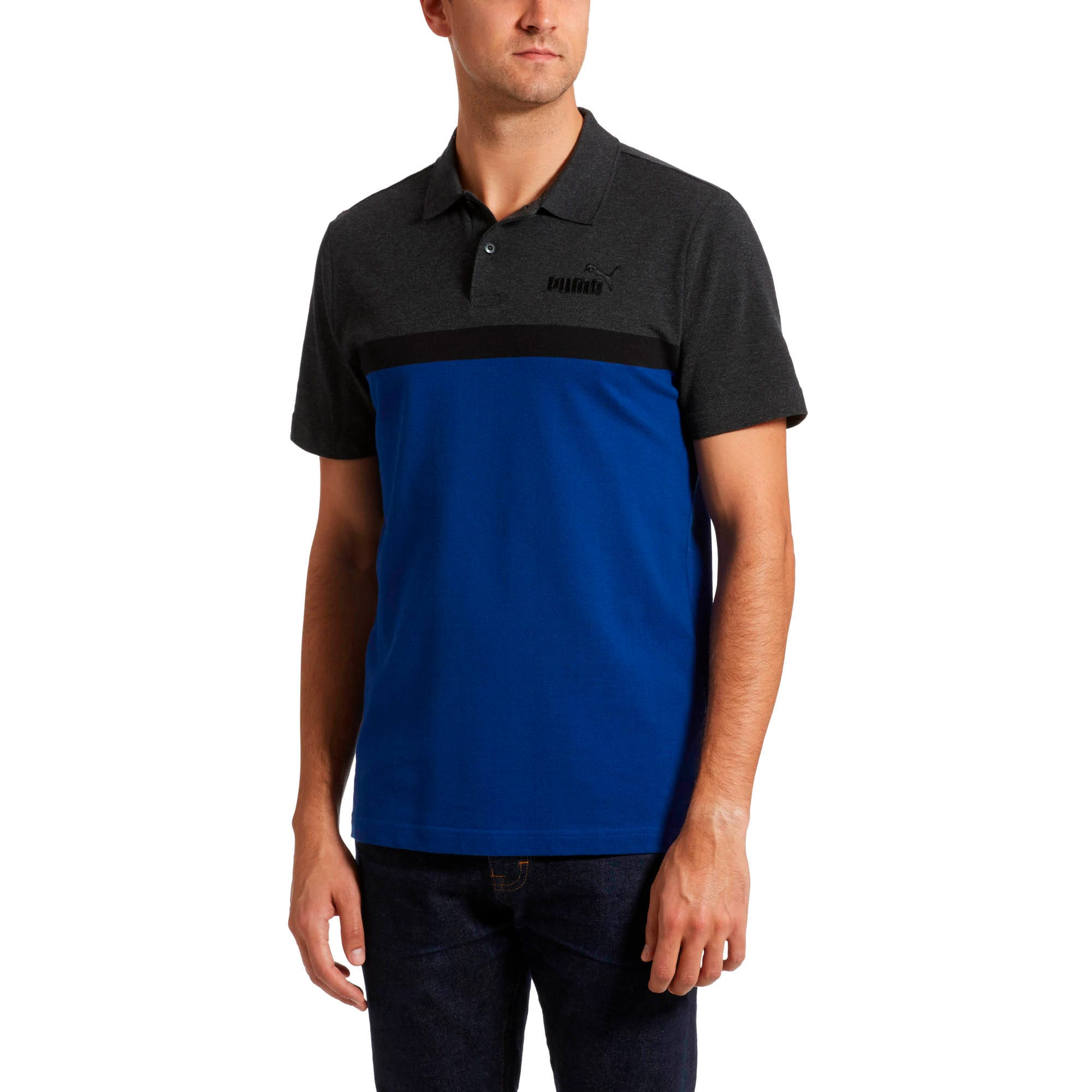Thumbnail 2 of Essentials+ Stripe Men's Polo, Sodalite Blue, medium