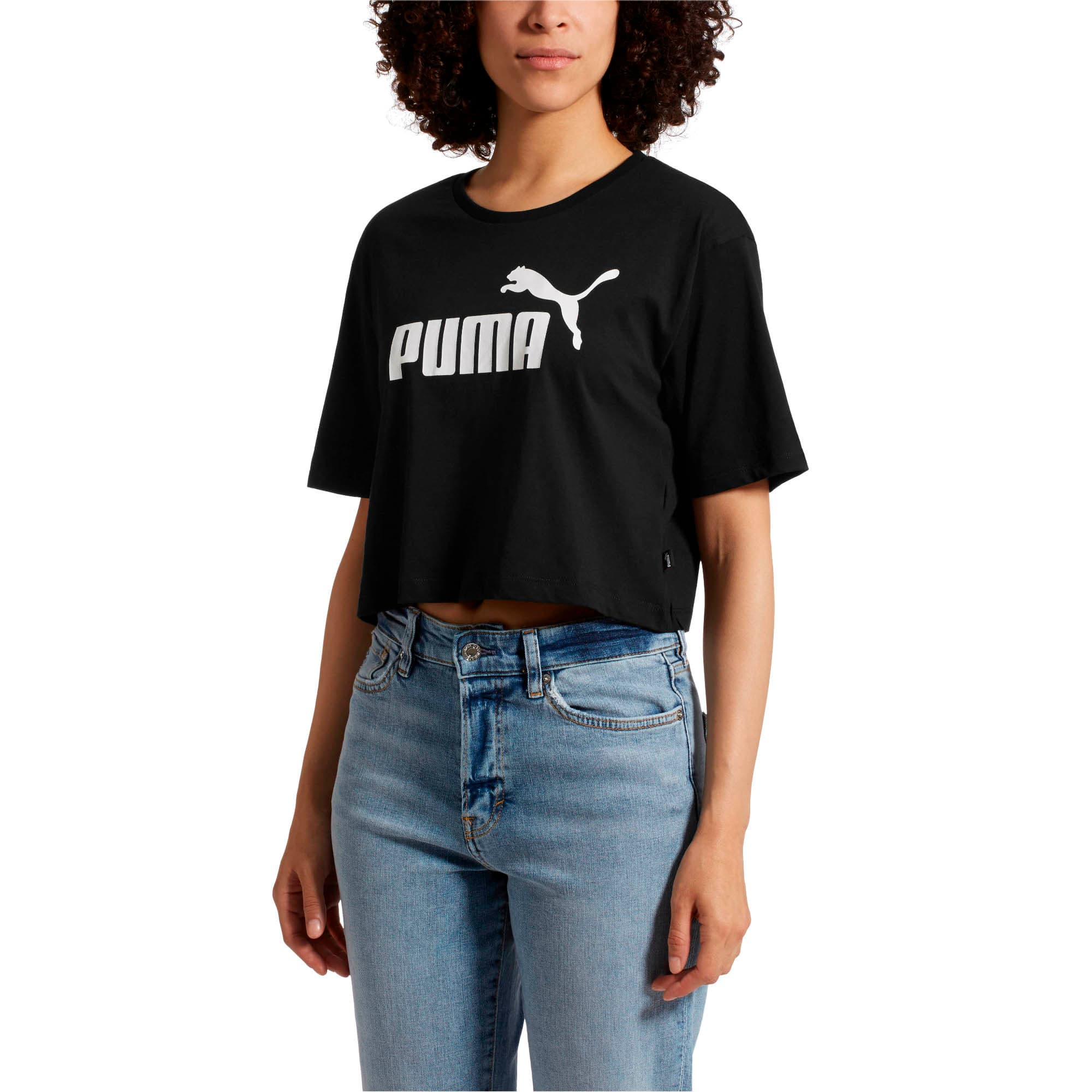 Thumbnail 1 of Essentials+ Cropped Women's Tee, Cotton Black, medium