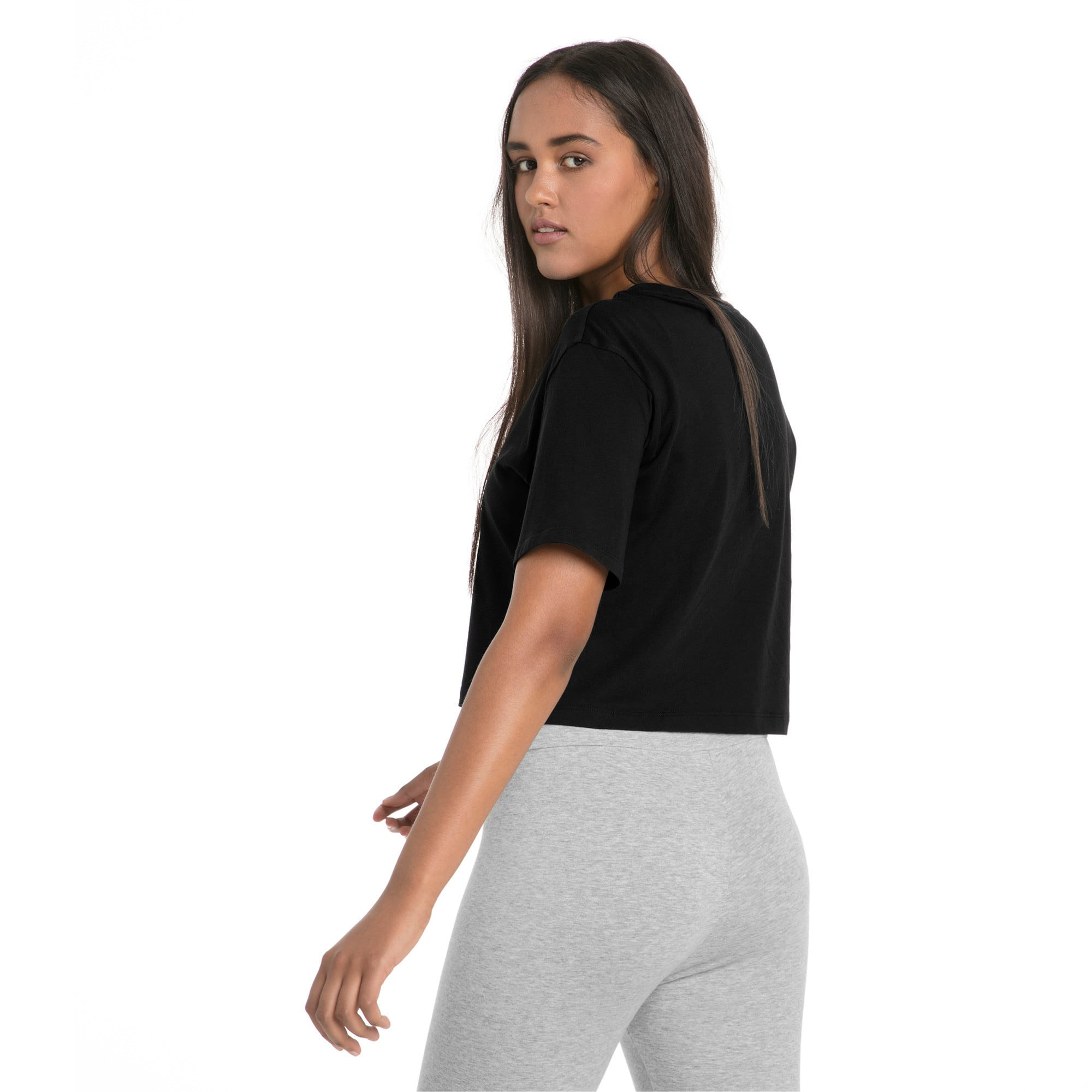 Thumbnail 2 of Essentials+ Cropped Women's Tee, Cotton Black, medium