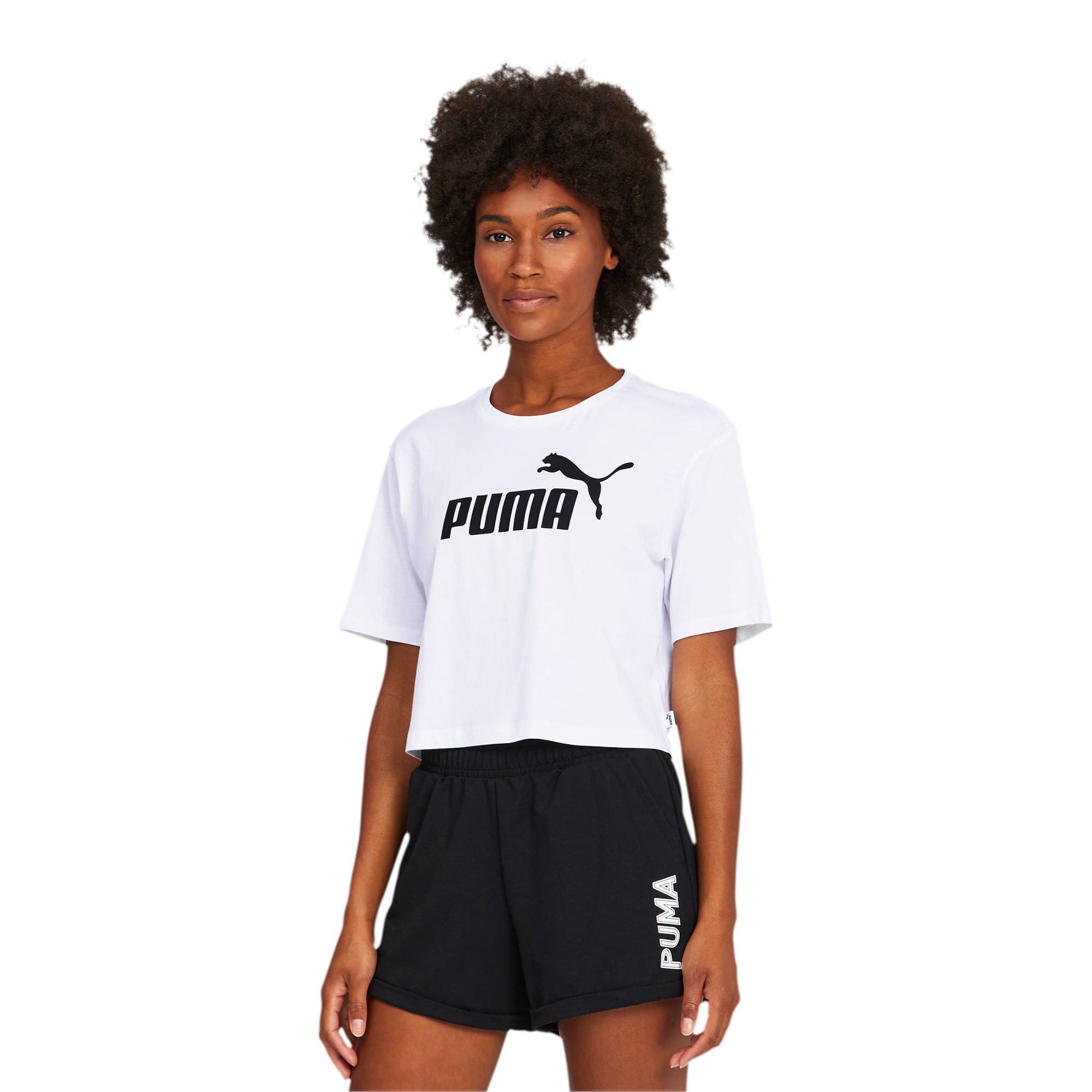 Thumbnail 1 of Damen Cropped Logo T-Shirt, Puma White, medium