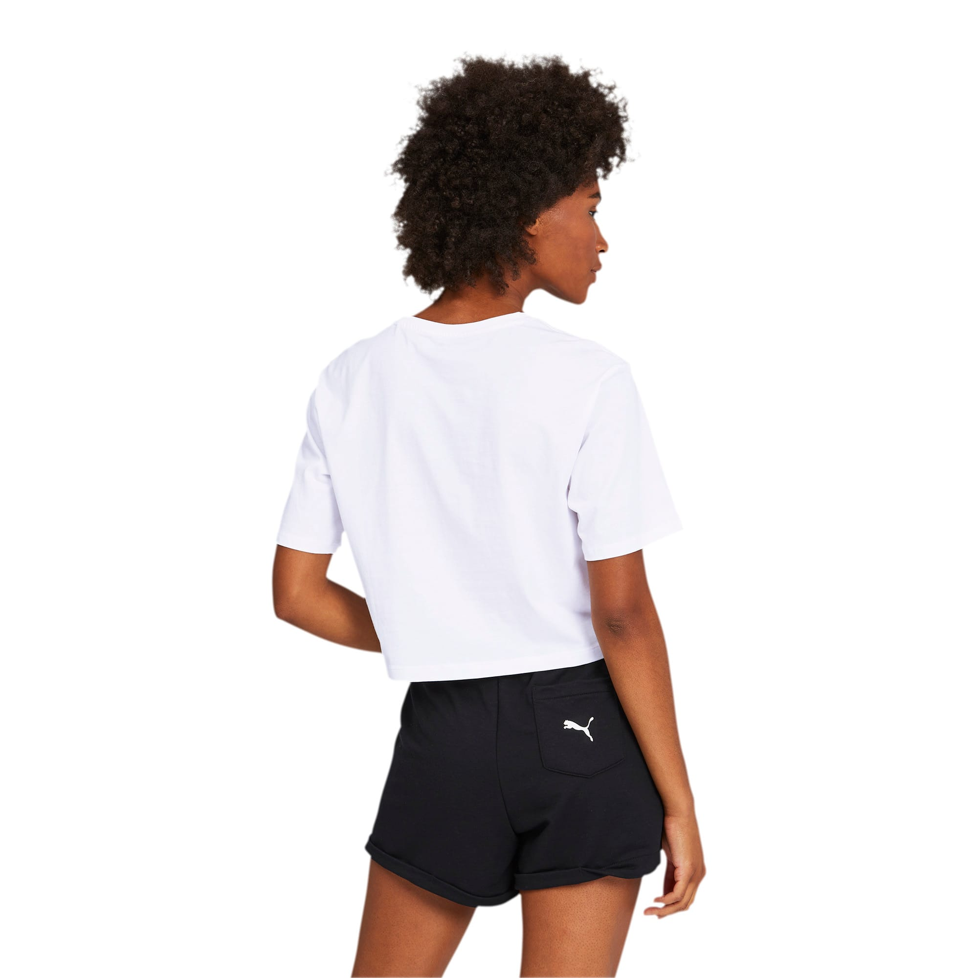 Thumbnail 2 of Damen Cropped Logo T-Shirt, Puma White, medium