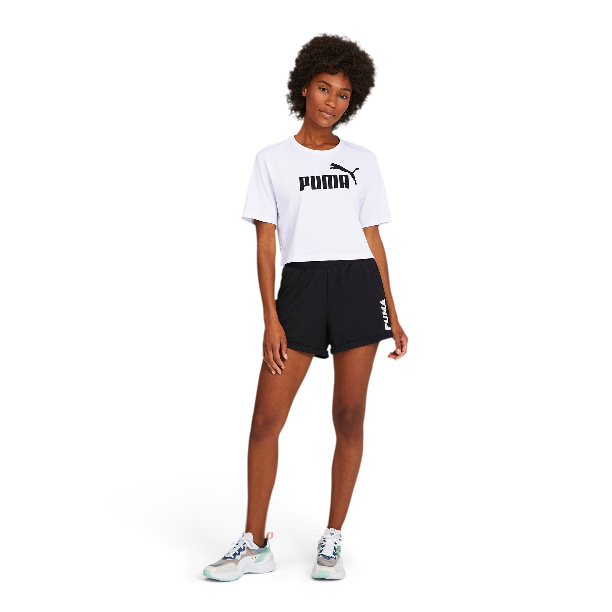 Thumbnail 3 of Damen Cropped Logo T-Shirt, Puma White, medium