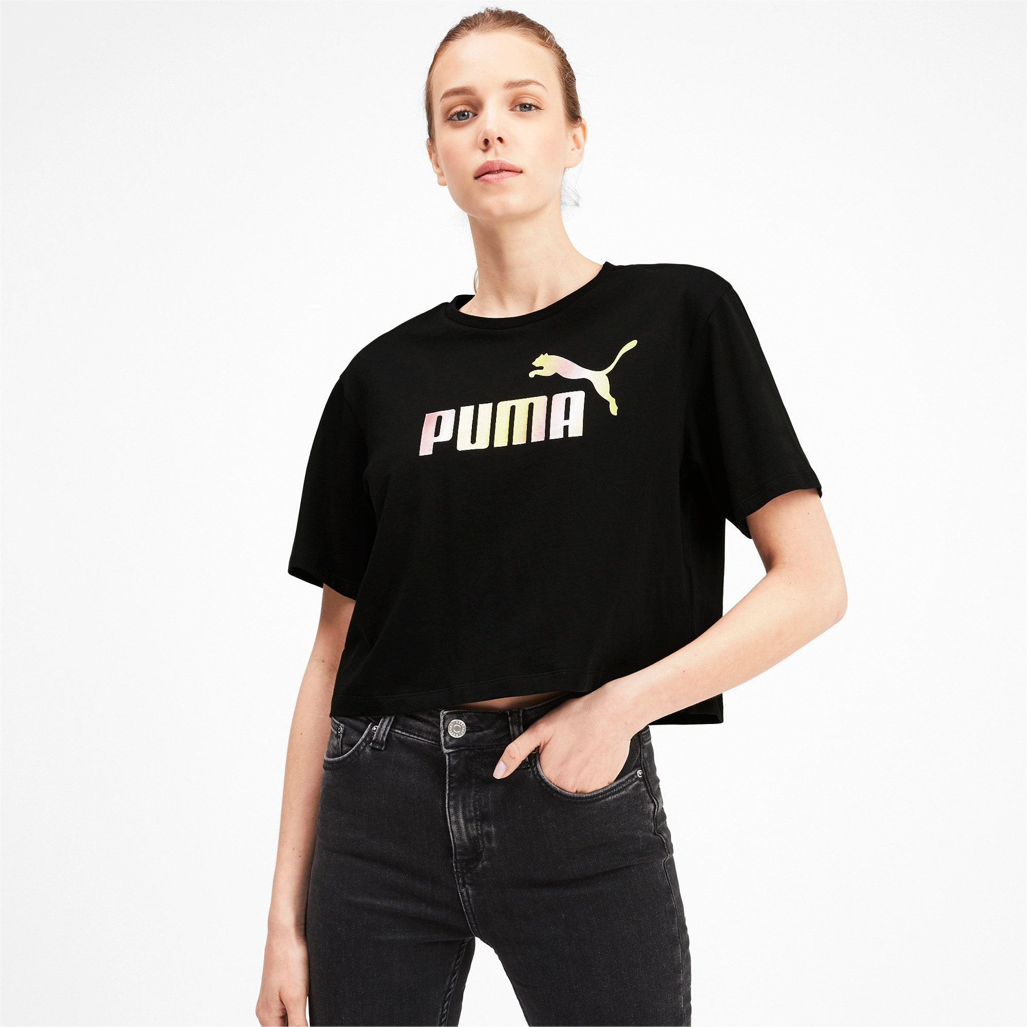 Miniatura 1 de Camiseta corta con logo para mujer, Puma Black, mediano