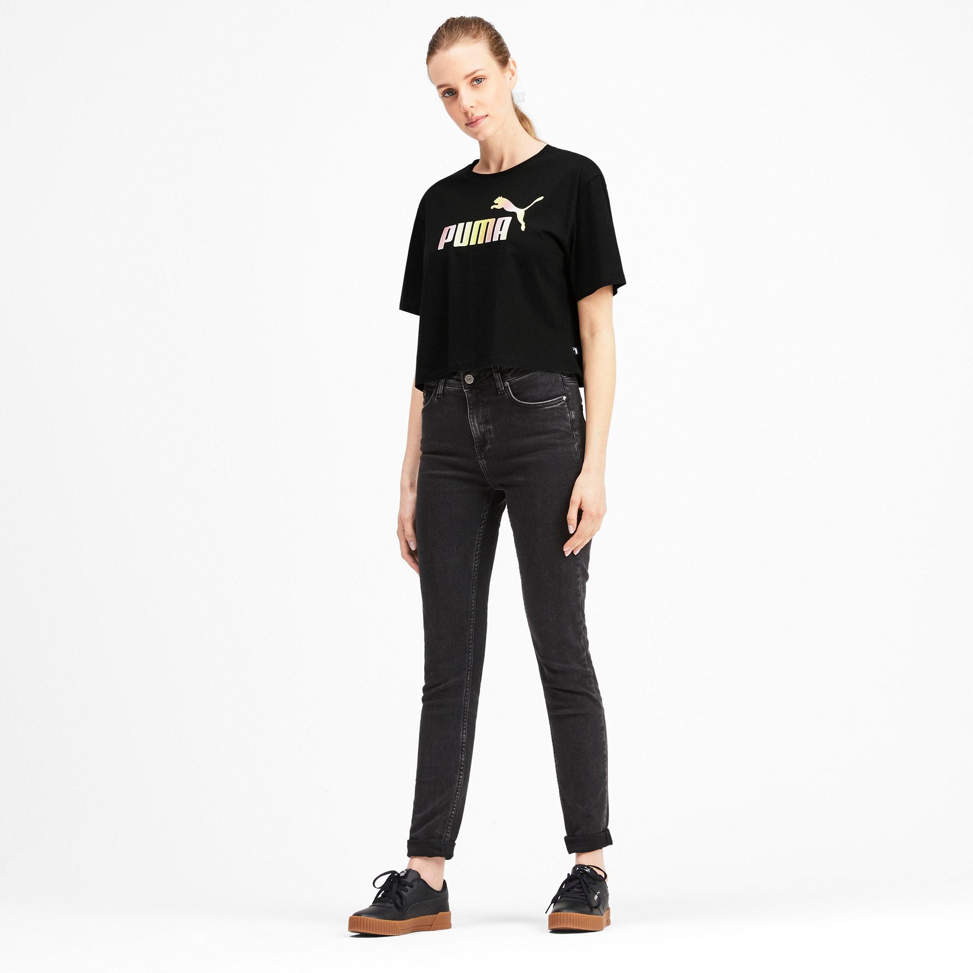 Miniatura 3 de Camiseta corta con logo para mujer, Puma Black, mediano