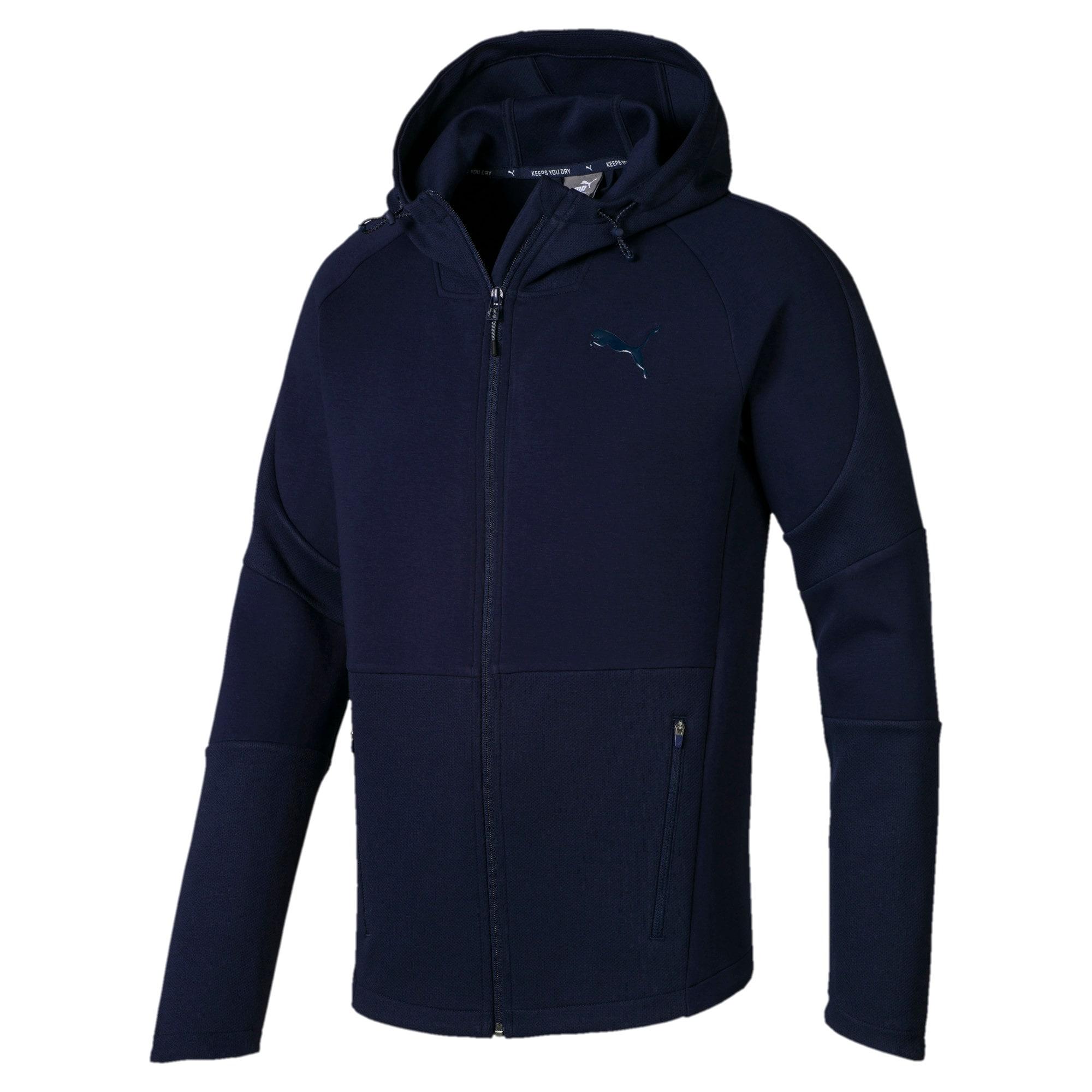 Thumbnail 2 of Evostripe Move Hooded Jacket, Peacoat, medium