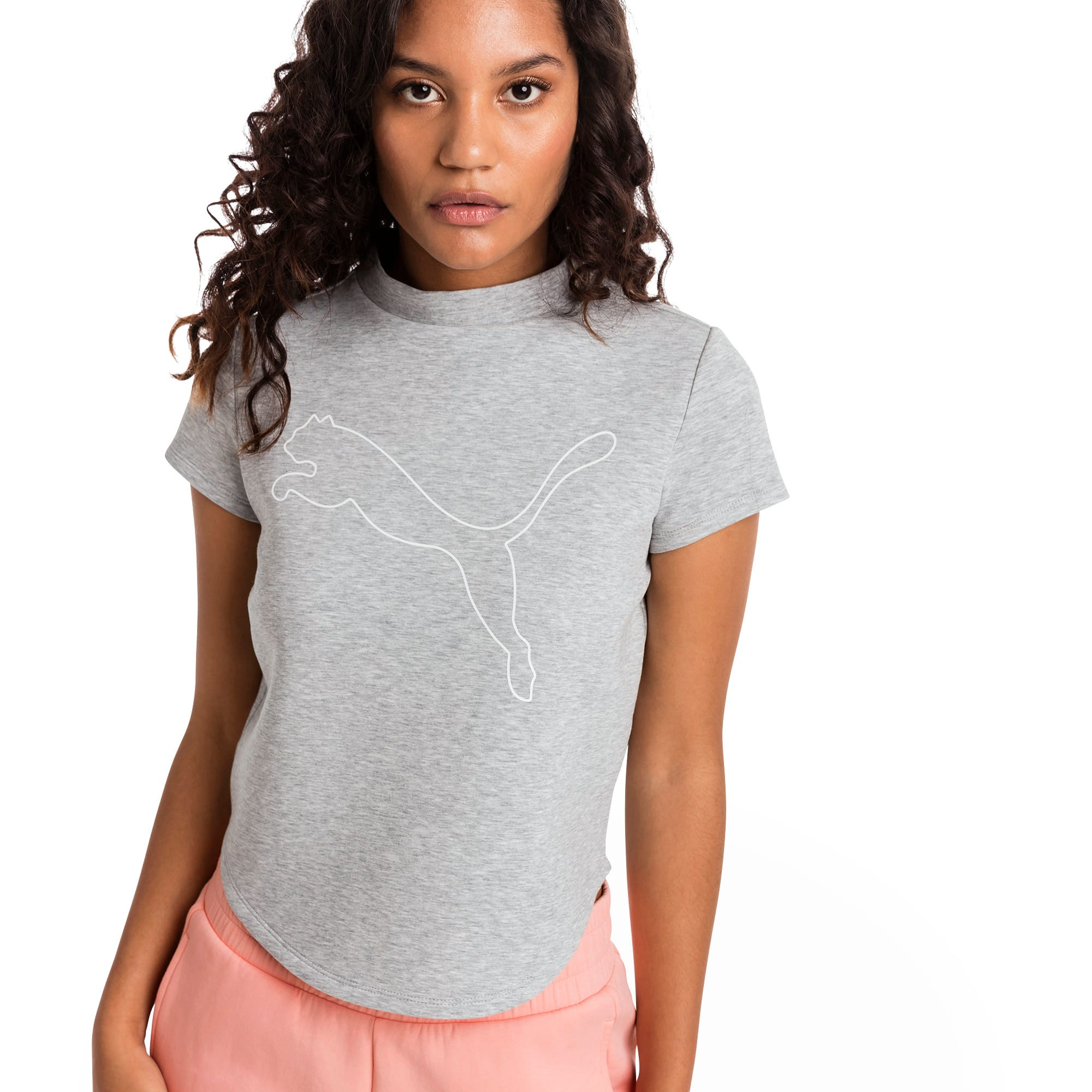 Thumbnail 1 of Evostripe Move Women's Sweat Tee, Light Gray Heather, medium