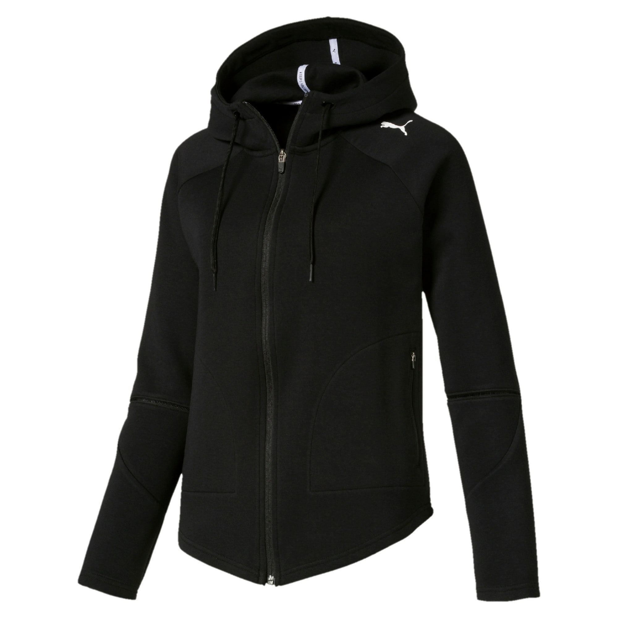 Thumbnail 4 of Evostripe Move Damen Kapuzenjacke, Cotton Black, medium