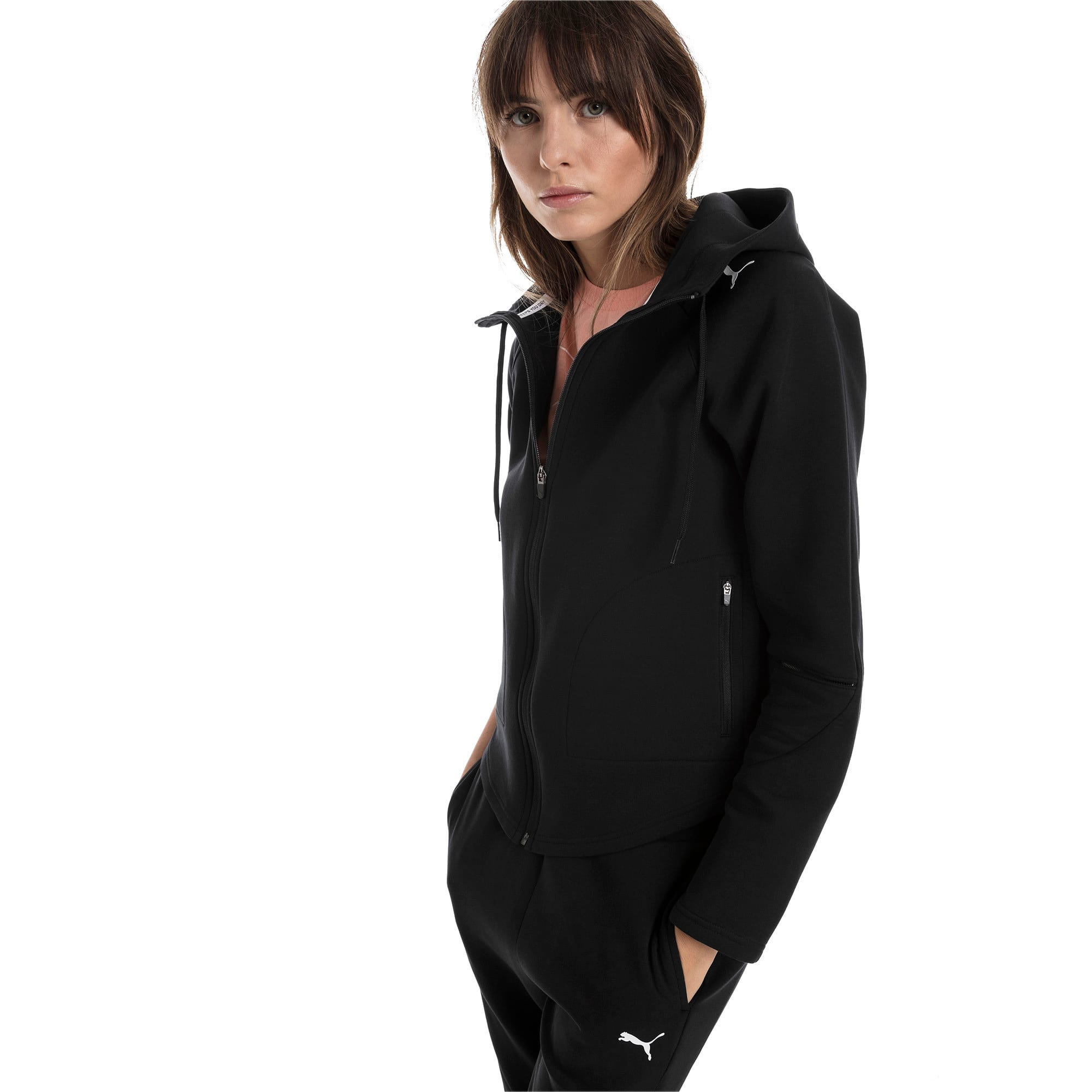 Thumbnail 1 of Evostripe Move Damen Kapuzenjacke, Cotton Black, medium