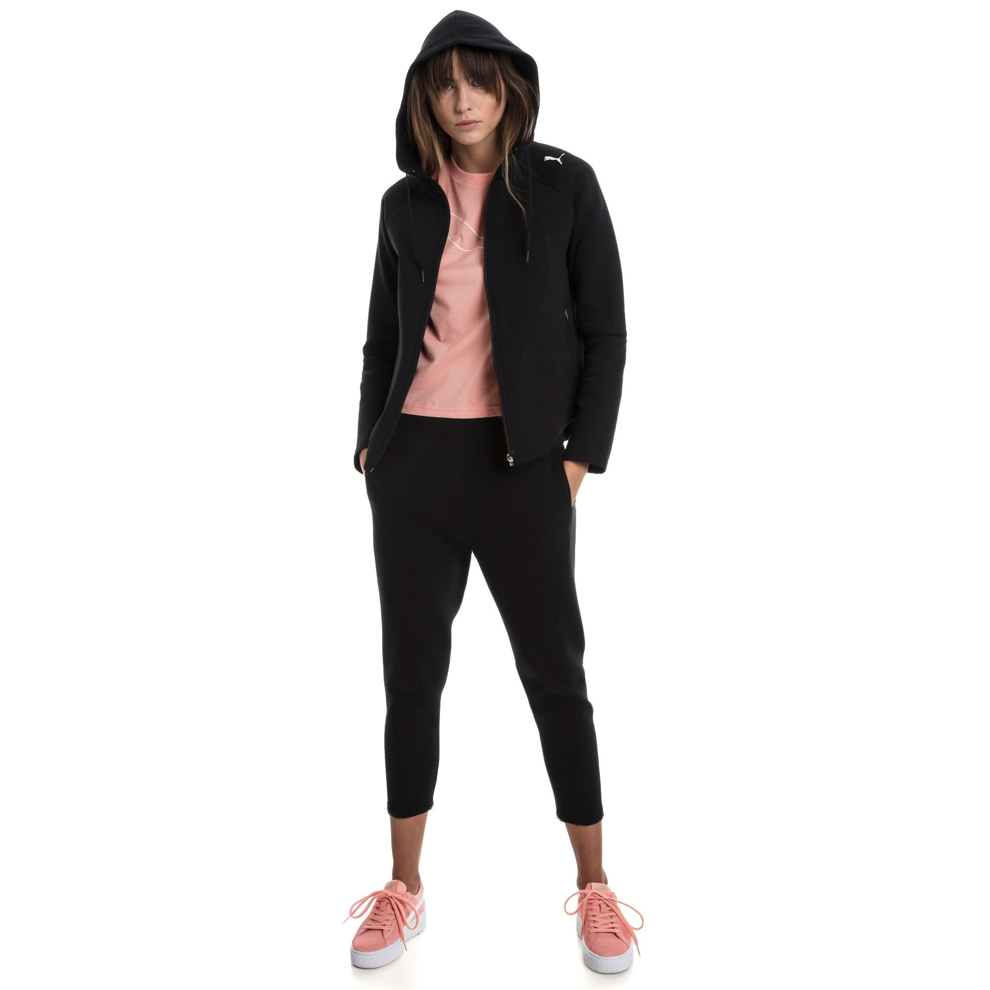 Thumbnail 3 of Evostripe Move Damen Kapuzenjacke, Cotton Black, medium