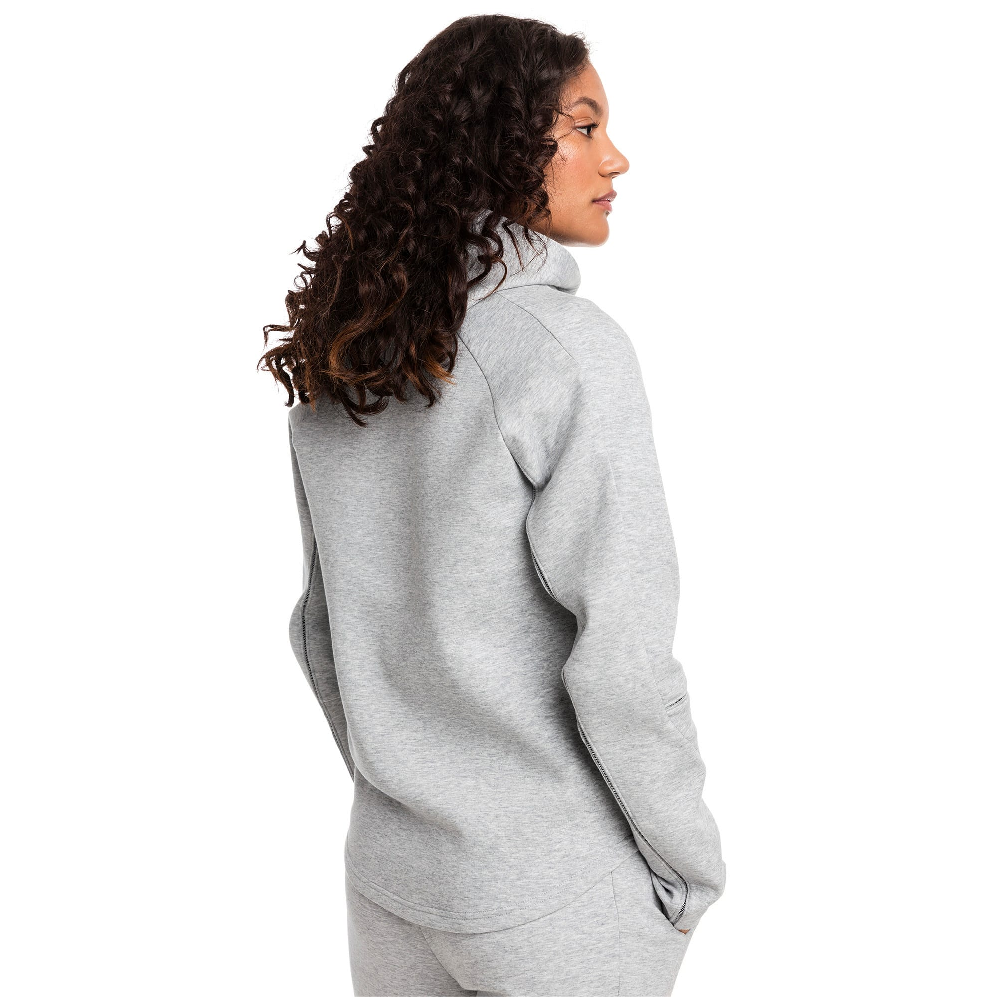 Thumbnail 2 of Evostripe Move Zip-Up Women's Hoodie, Light Gray Heather, medium