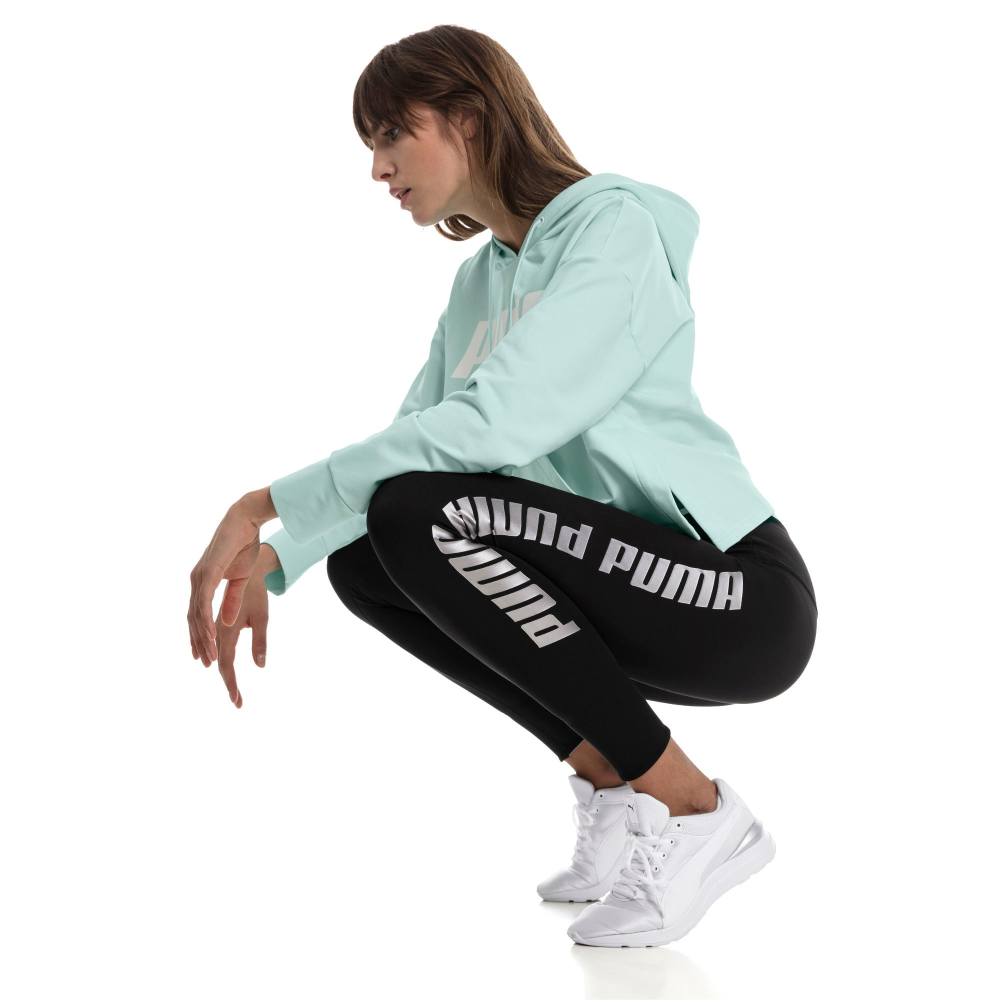 Thumbnail 3 of Modern Sports Fold Up Women's Leggings, Puma Black-fair aqua silver, medium