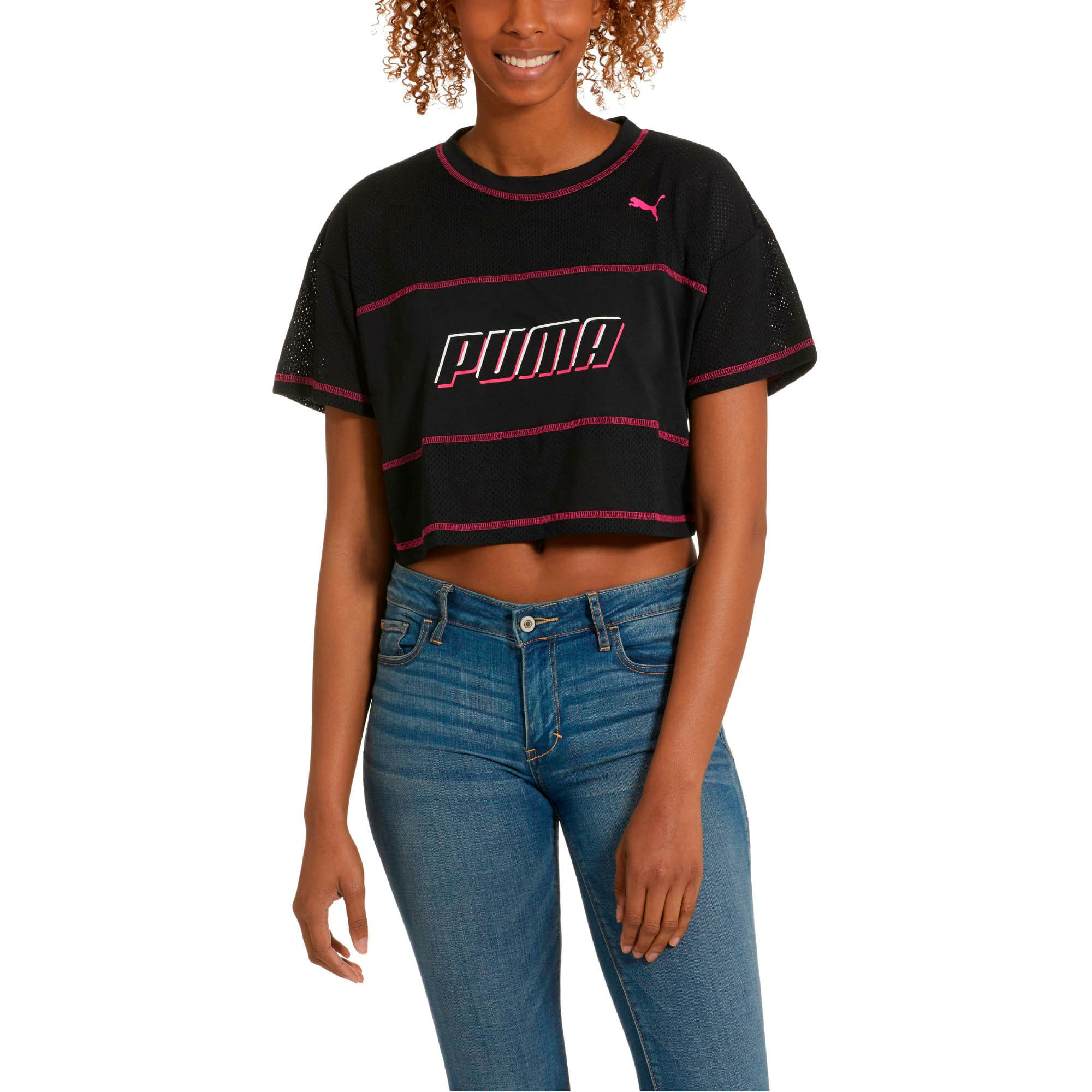 Thumbnail 1 of Modern Sports Women's Cropped Tee, Cotton Black, medium