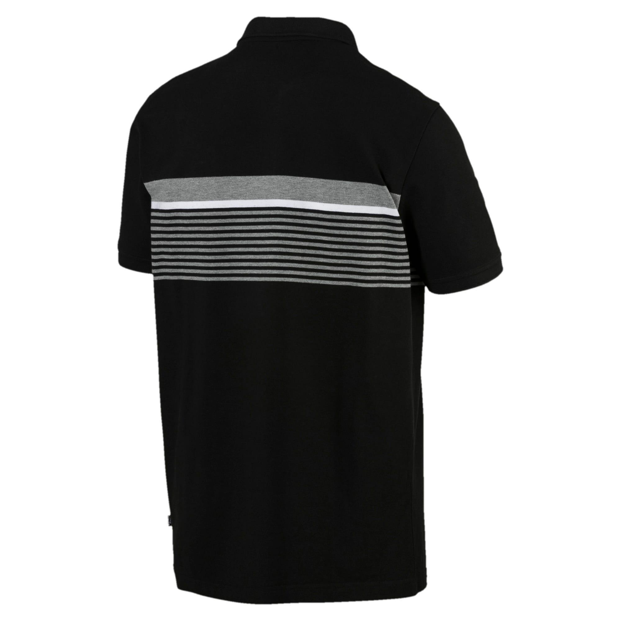 Miniatura 3 de Camiseta tipo polo ESS+ Striped para hombre, Cotton Black, mediano