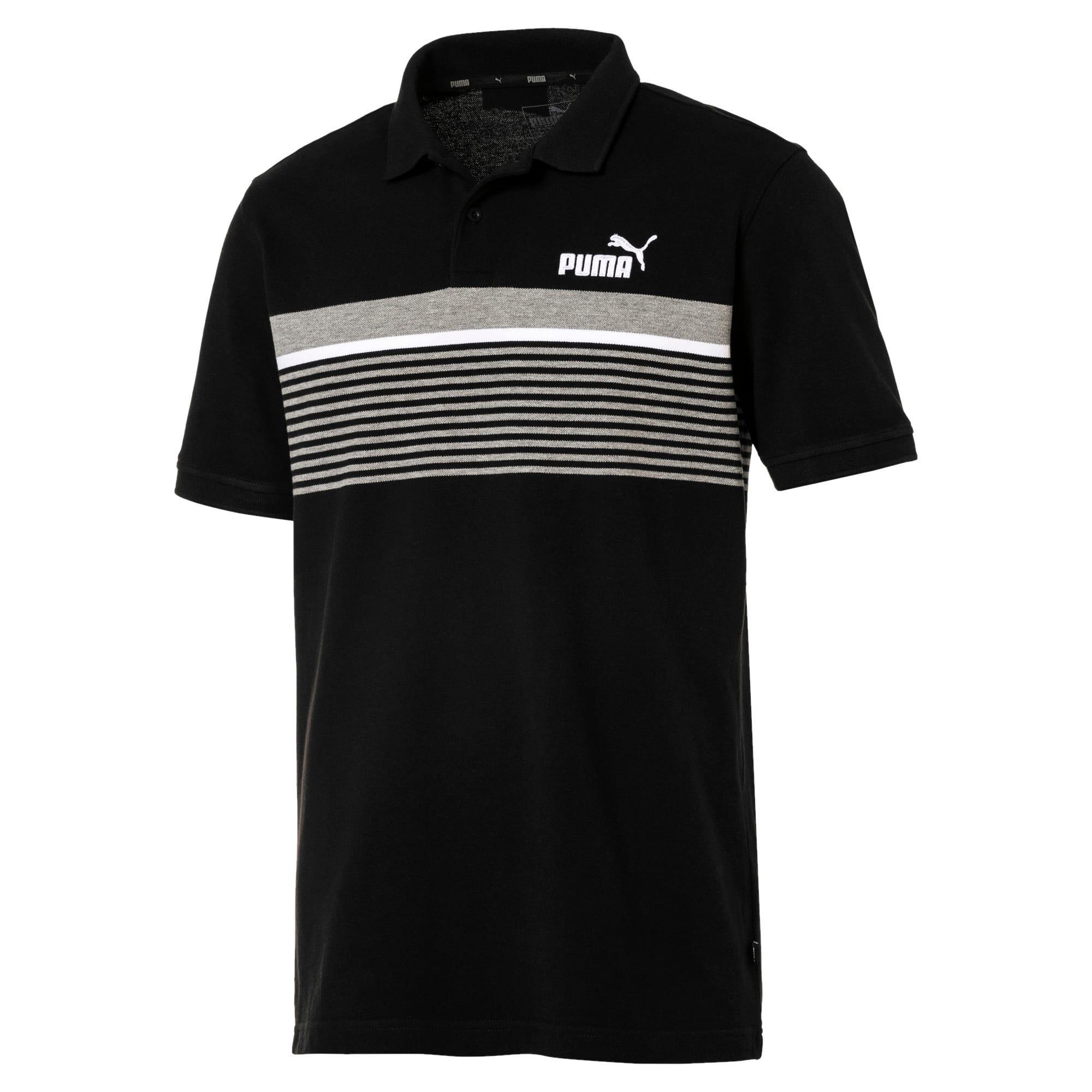 Miniatura 1 de Camiseta tipo polo ESS+ Striped para hombre, Cotton Black, mediano