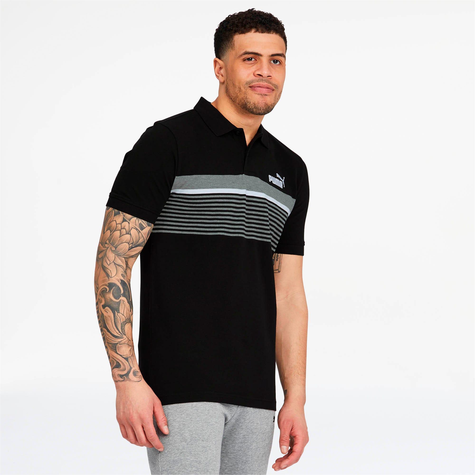 Miniatura 2 de Camiseta tipo polo ESS+ Striped para hombre, Cotton Black, mediano