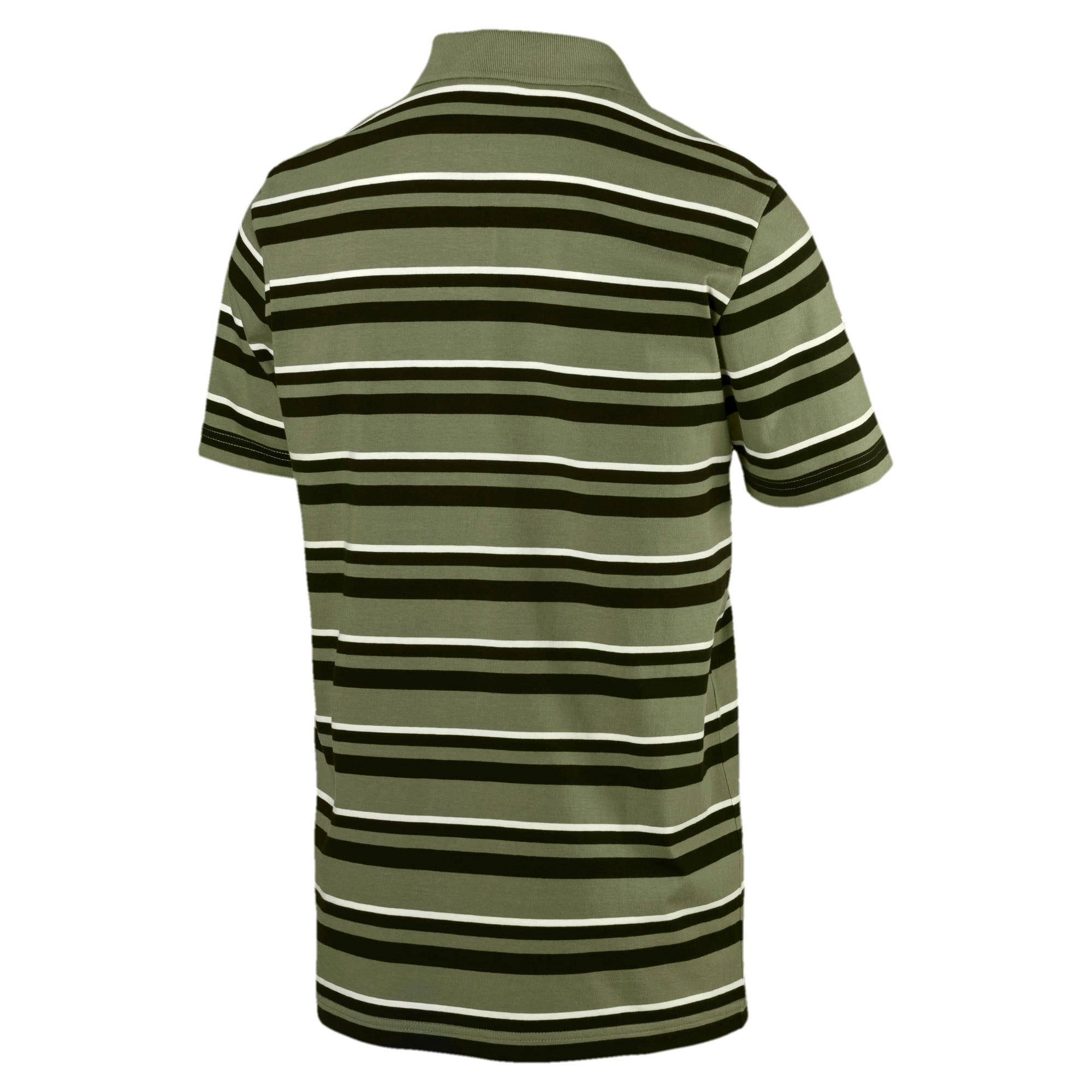Miniatura 3 de Camiseta tipo polo ESS+ Striped J para hombre, Olivine, mediano