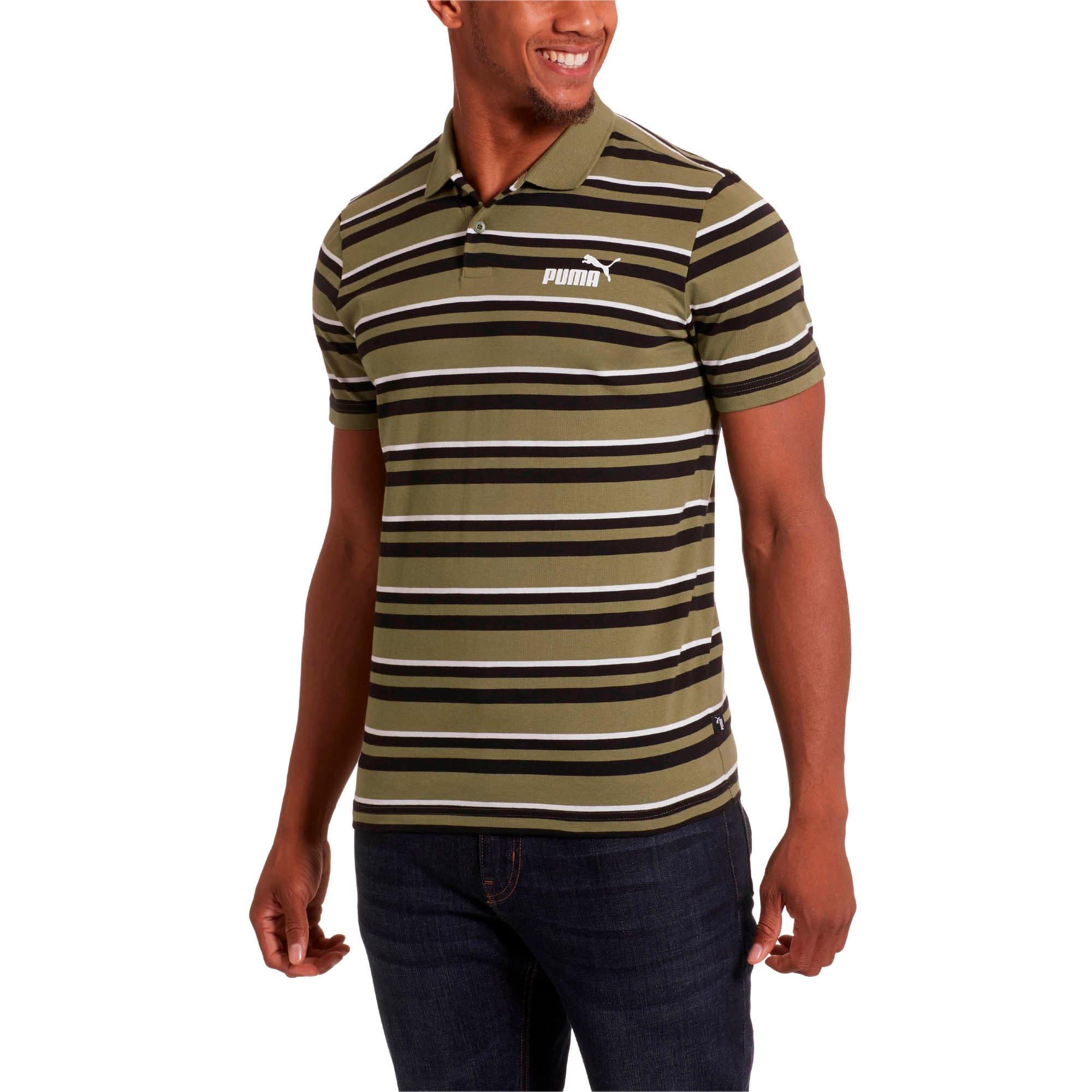 Miniatura 2 de Camiseta tipo polo ESS+ Striped J para hombre, Olivine, mediano