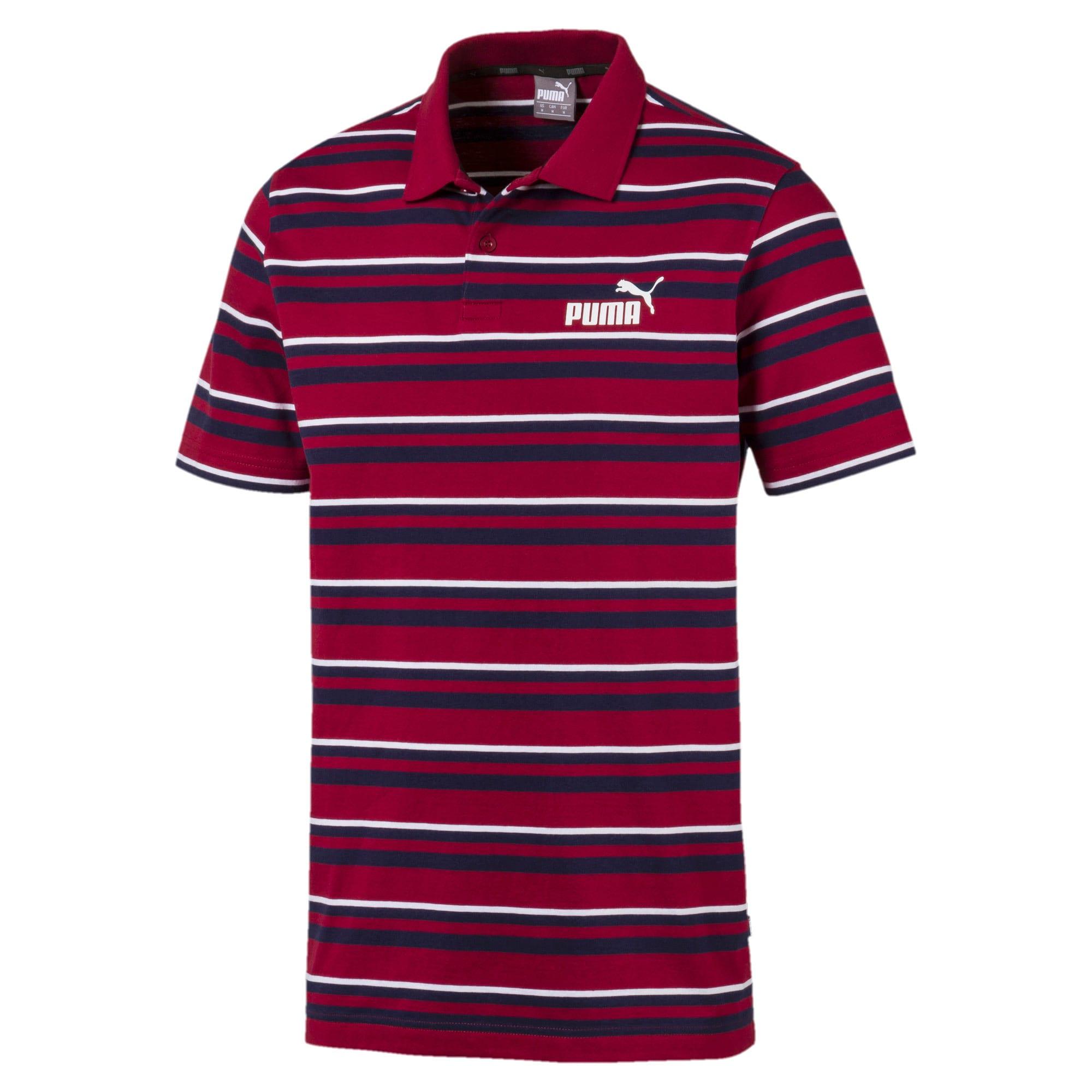 Thumbnail 1 of ESS+ Striped J Men's Polo, Rhubarb, medium