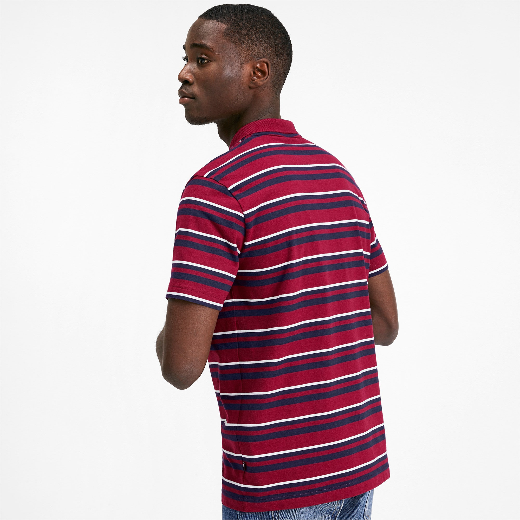 Thumbnail 3 of ESS+ Striped J Men's Polo, Rhubarb, medium
