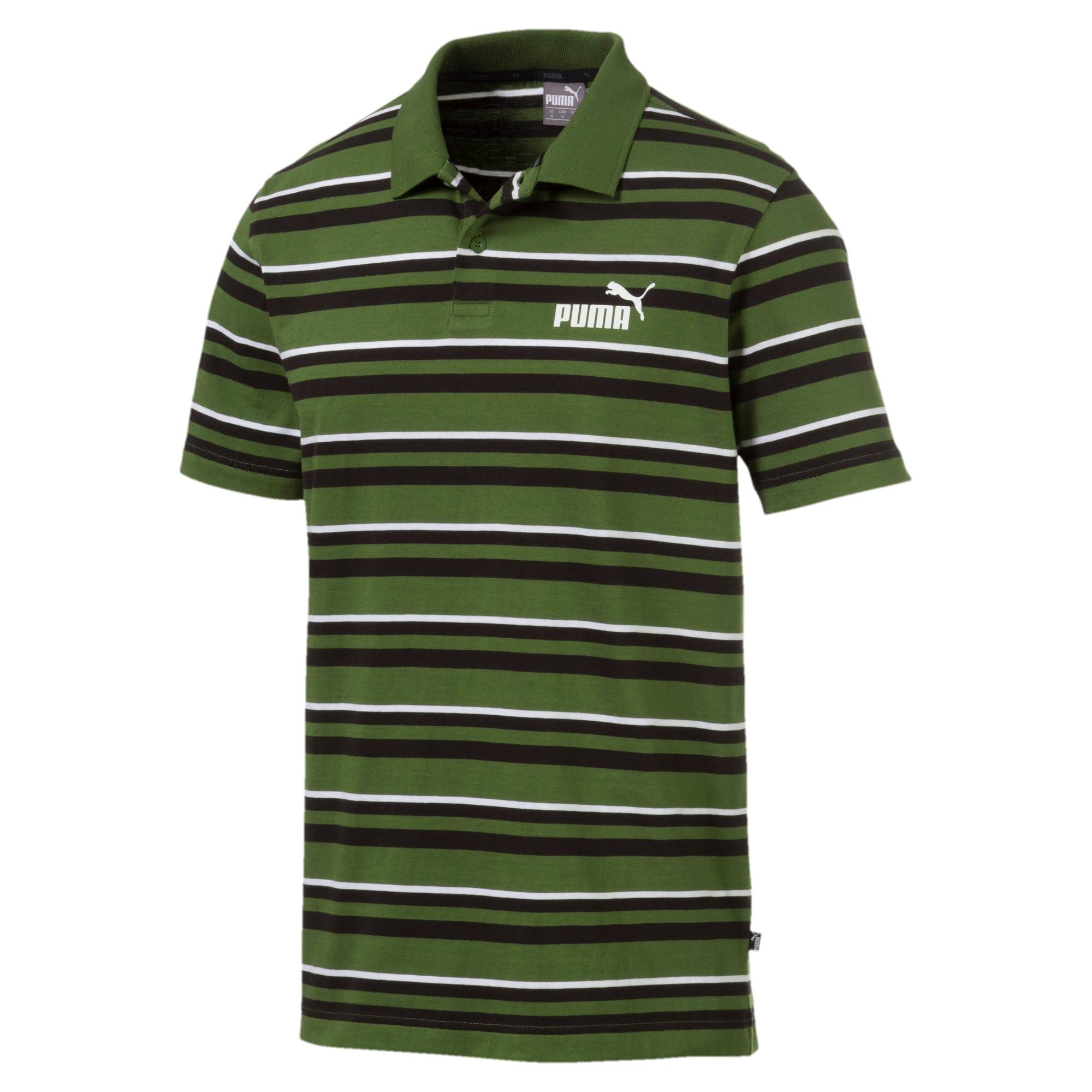 Miniatura 1 de Camiseta tipo polo ESS+ Striped J para hombre, Garden Green, mediano