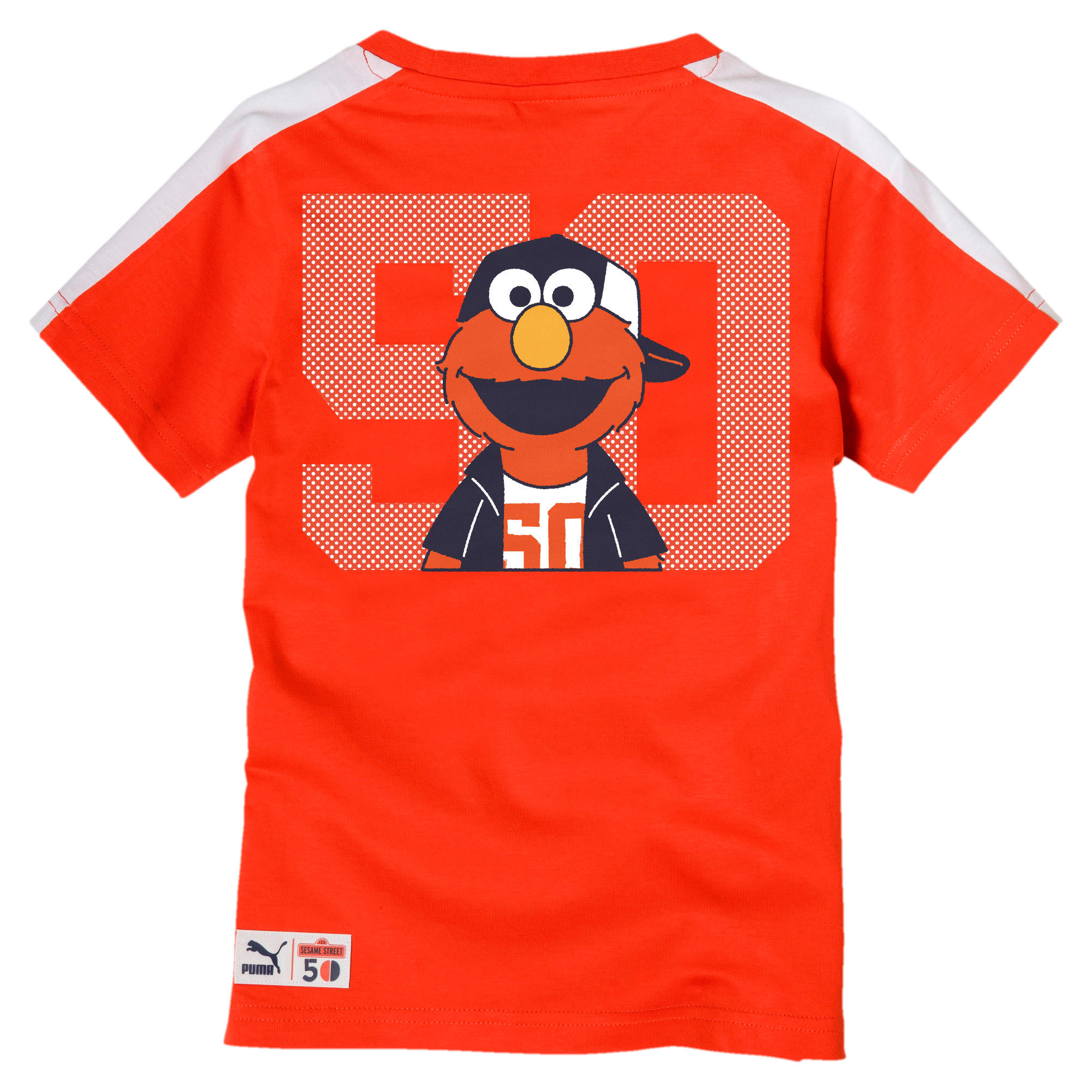 Thumbnail 2 of PUMA x SESAME STREET Boys' Tee, Cherry Tomato-tigerlily, medium